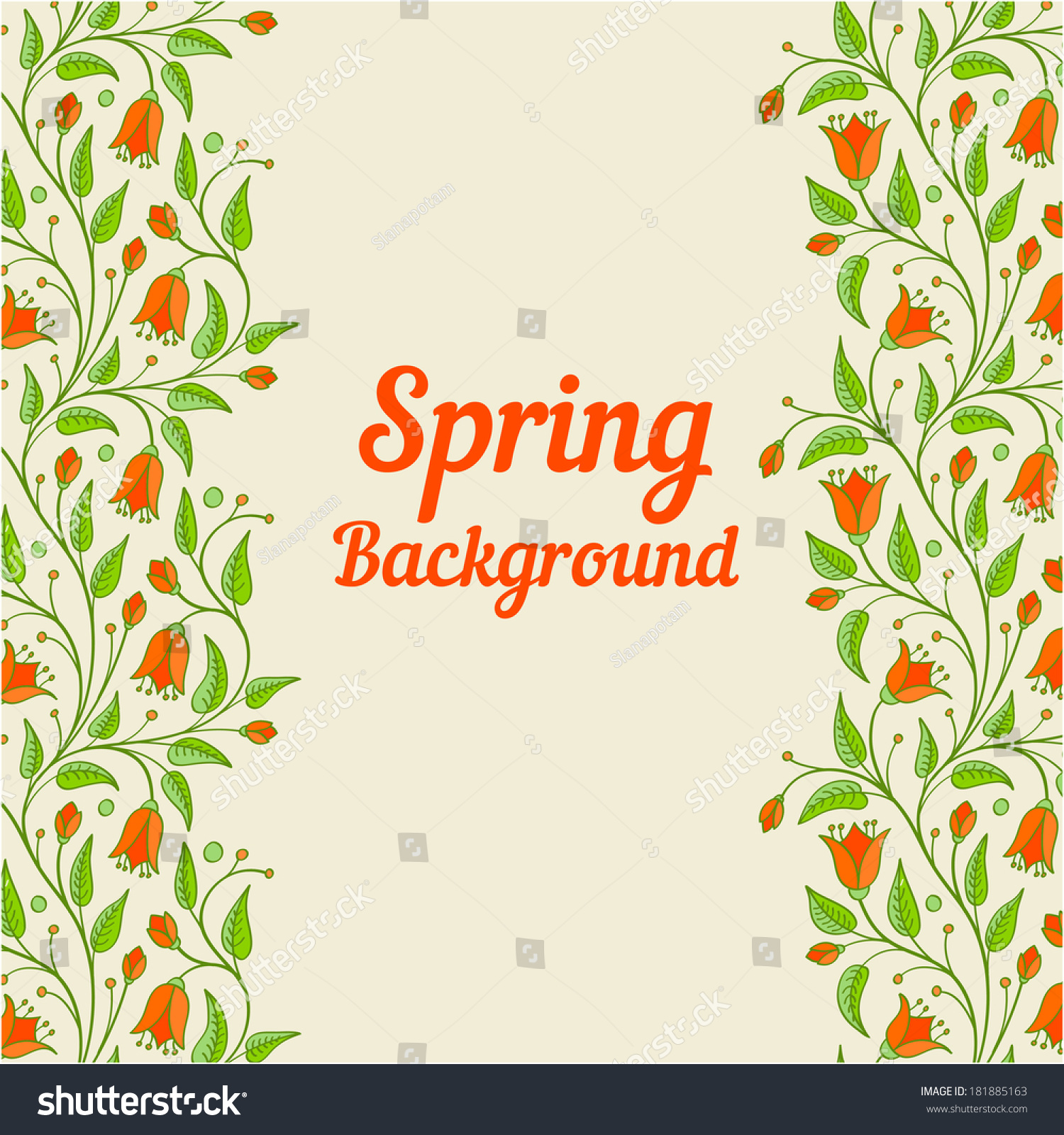 Spring Background Floral Borders Colorful Flowers Stock Vector