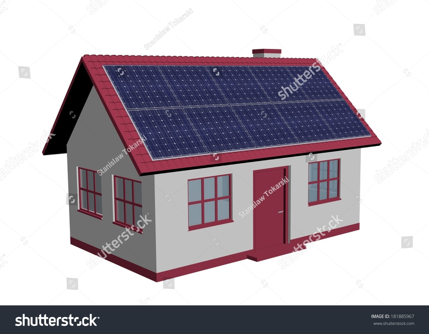 3d render simple house model with solar panels