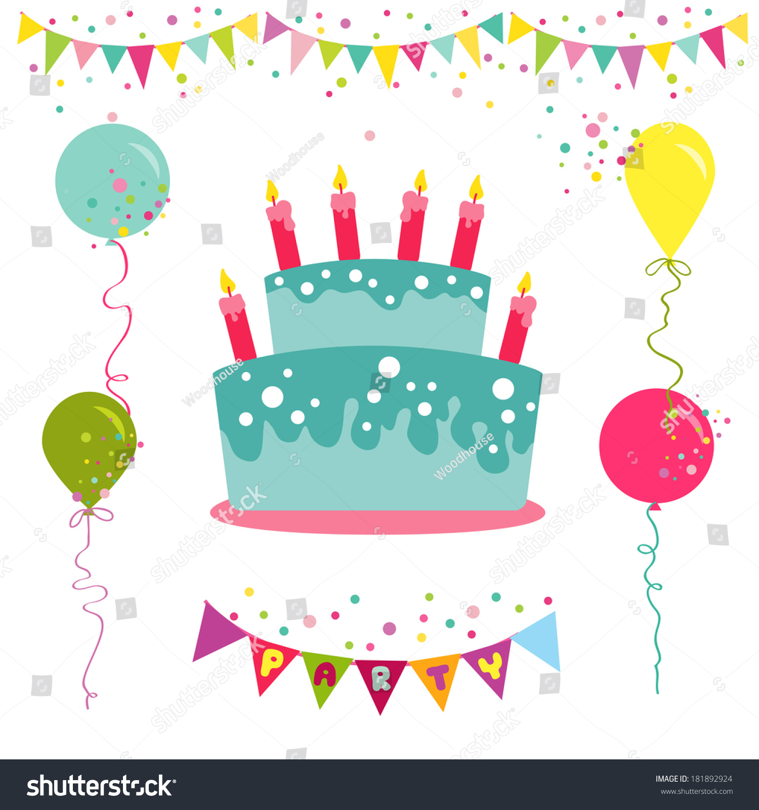 Happy Birthday Party Invitation Card Place Stock Vector 181892924 ...