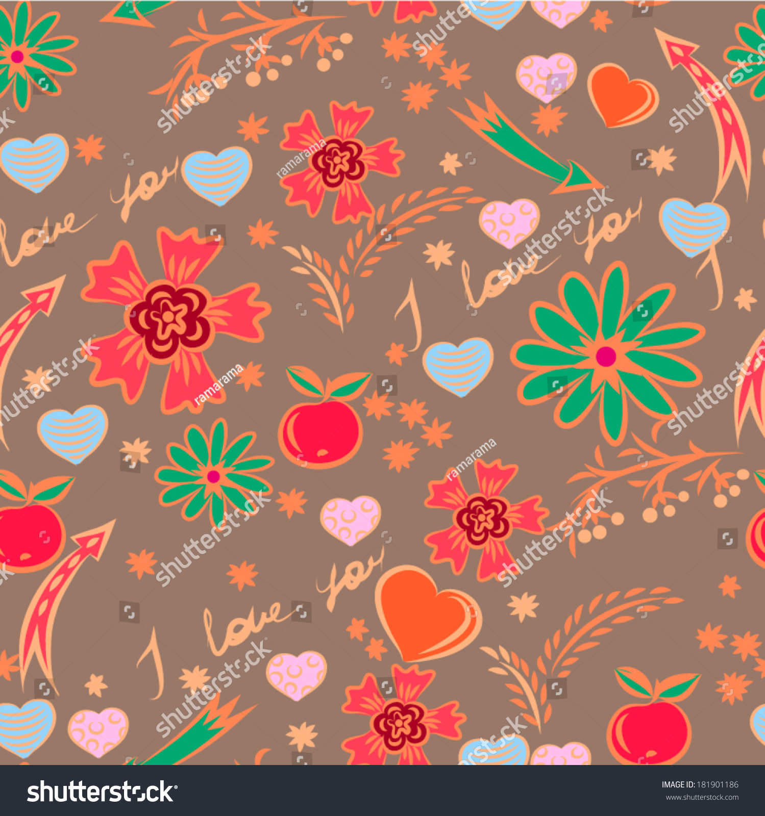 Vector seamless pattern love theme flowers stock vector for Love theme images