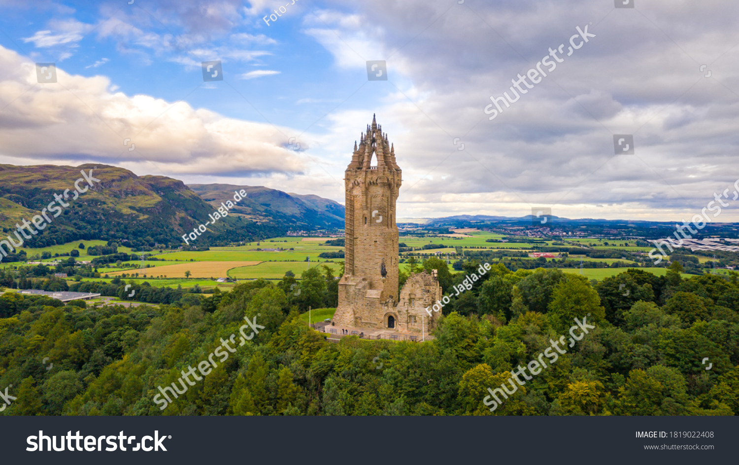 National Wallace Monument on top of the hill Abbey Craig in Stirling, Scotland #1819022408