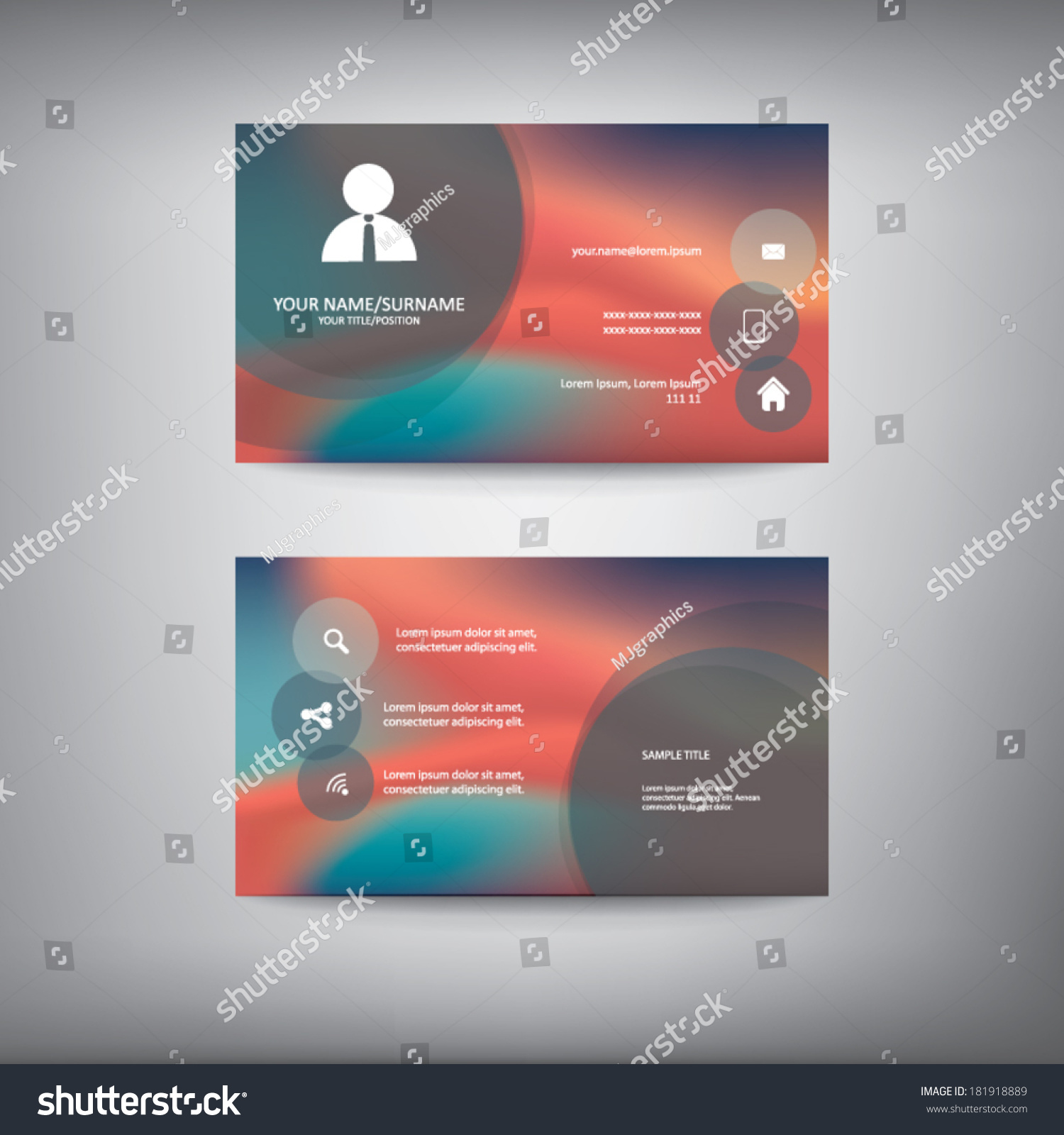 Business card template icons information space stock vector business card template with icons for information and space for text eps10 vector illustration magicingreecefo Image collections
