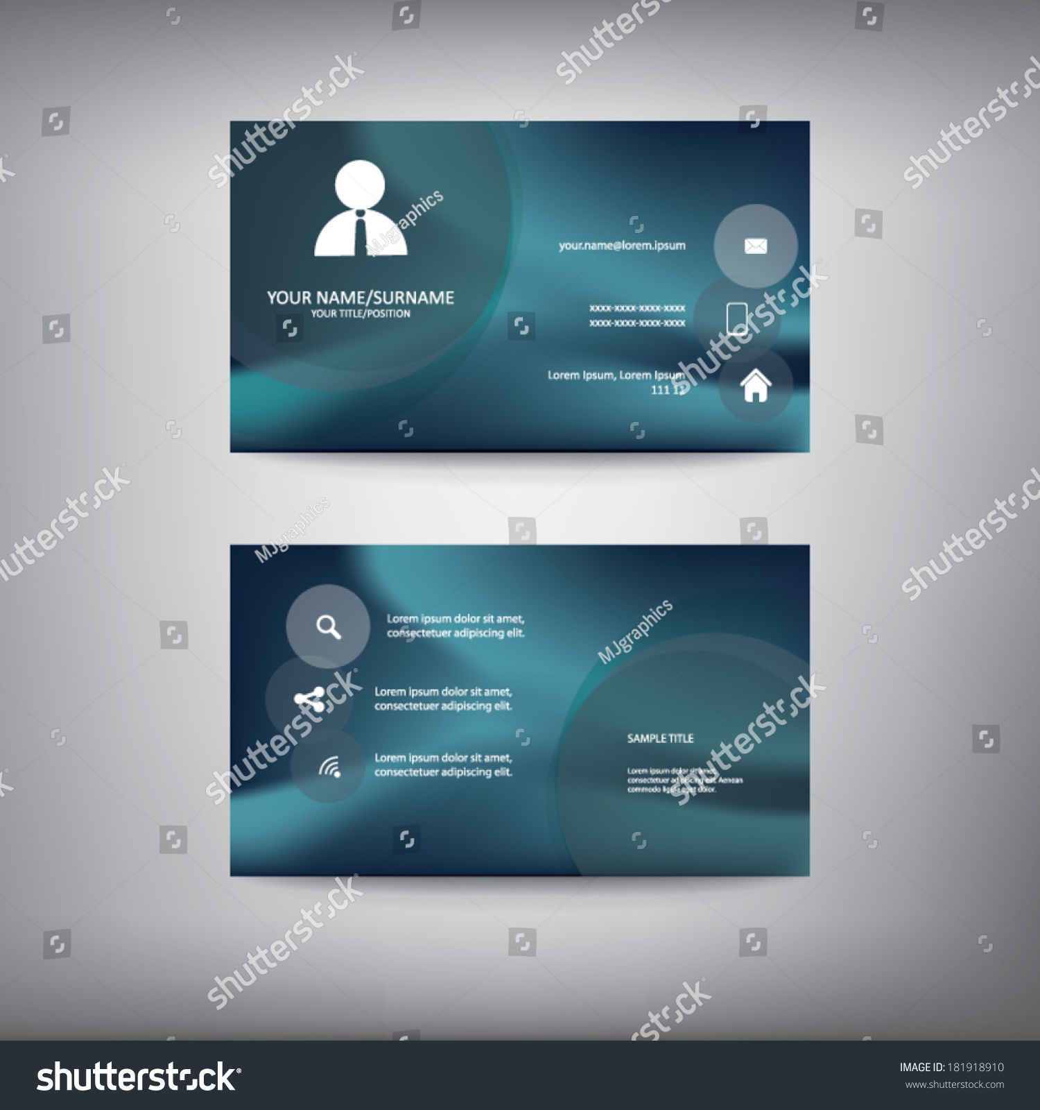 Business card template icons information space stock vector business card template with icons for information and space for text eps10 vector illustration colourmoves