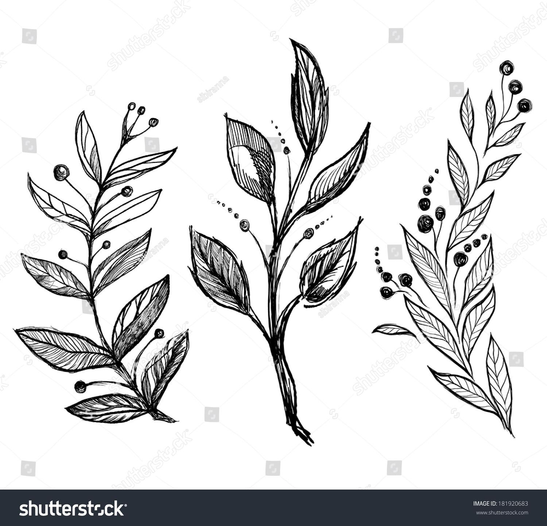 Set Hand Drawn Ink Sketch Spring Stock Vector 181920683
