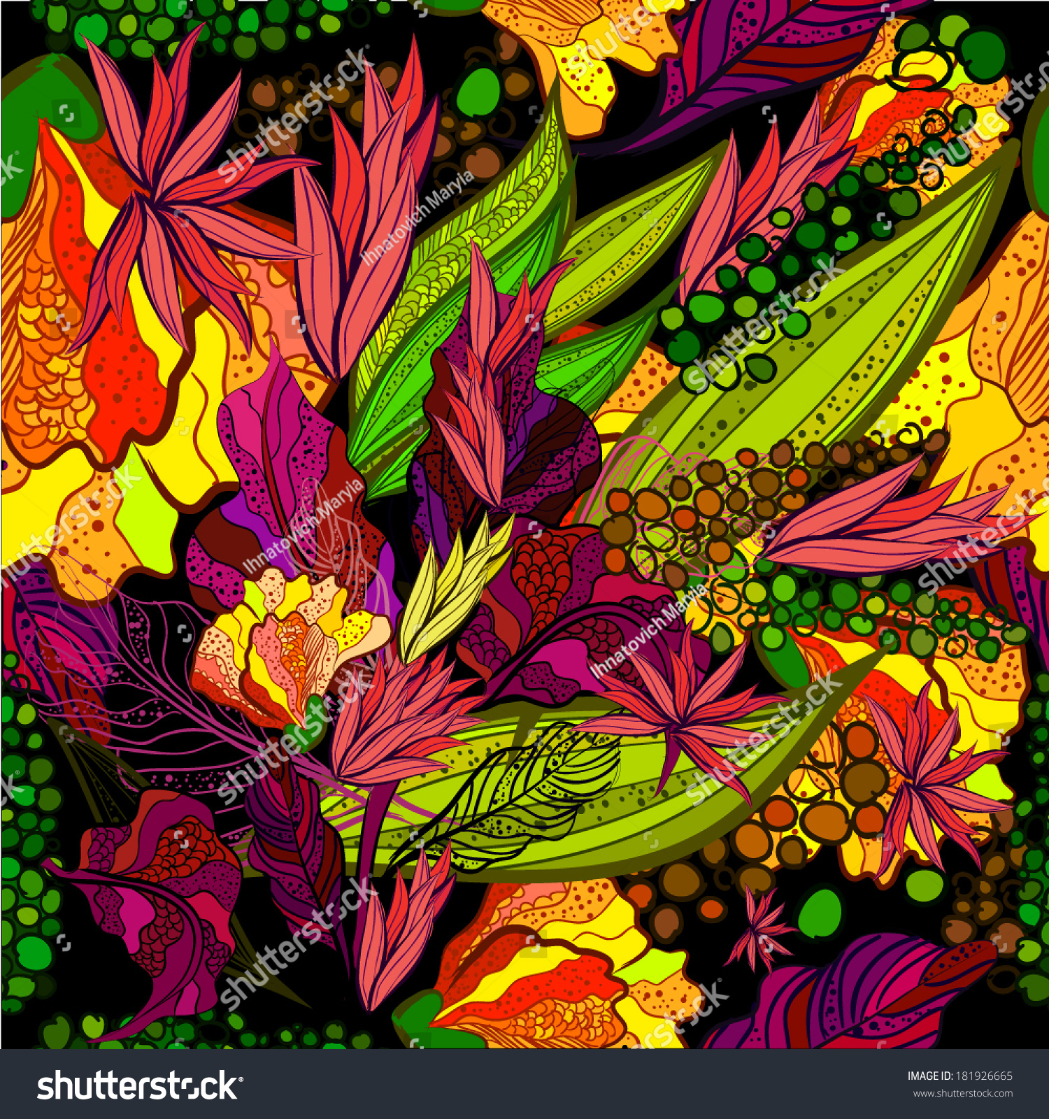 Seamless Background Bright Rainbow Colored Flowers Stock Vector ...