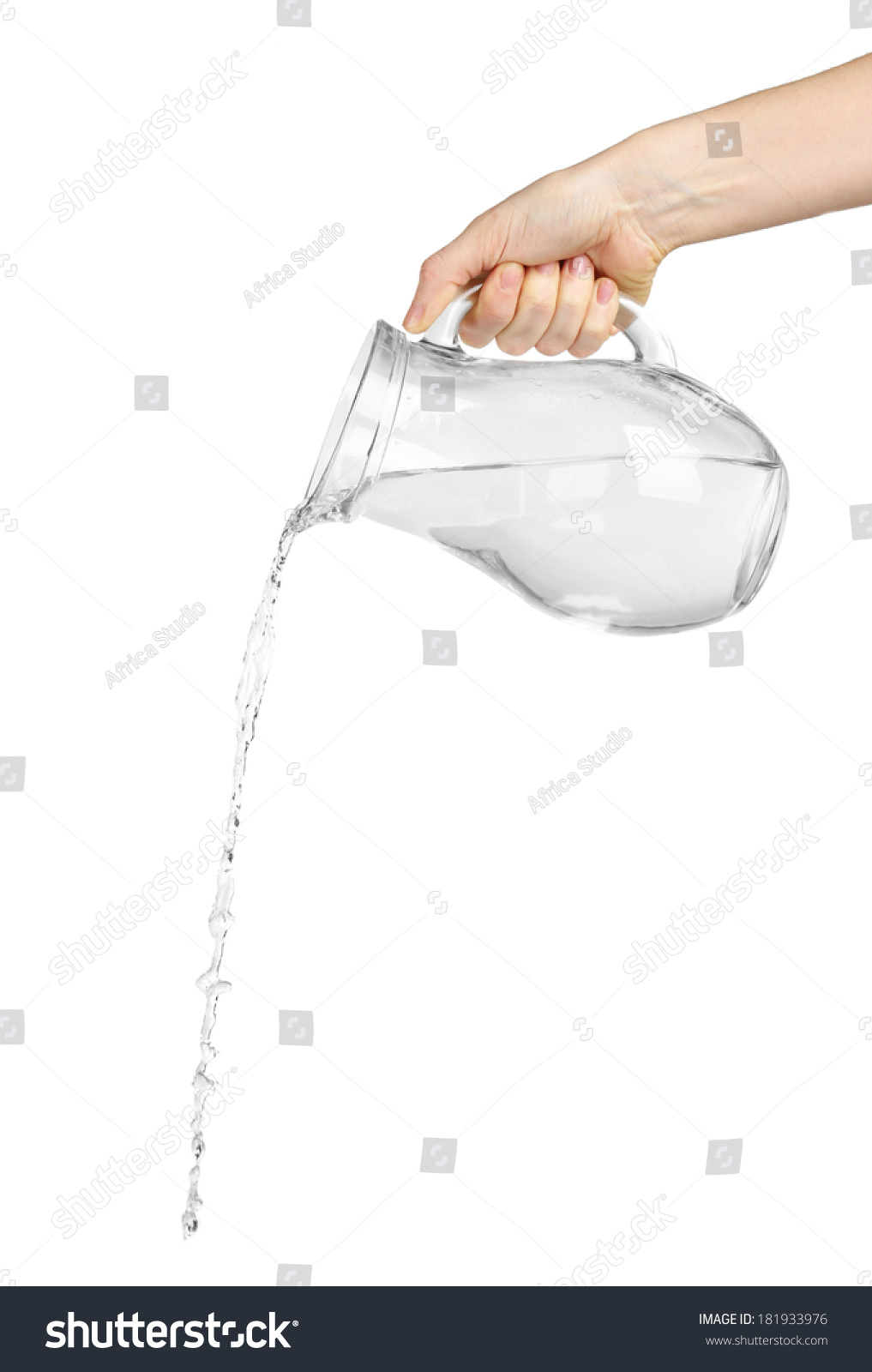 Pouring Water Glass Pitcher Isolated On Stock Photo ...