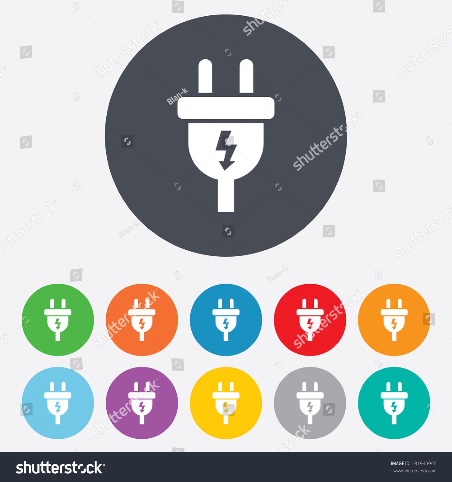 Plug Power Stock Quote: Electric Plug Sign Icon. Power Energy Symbol. Lightning