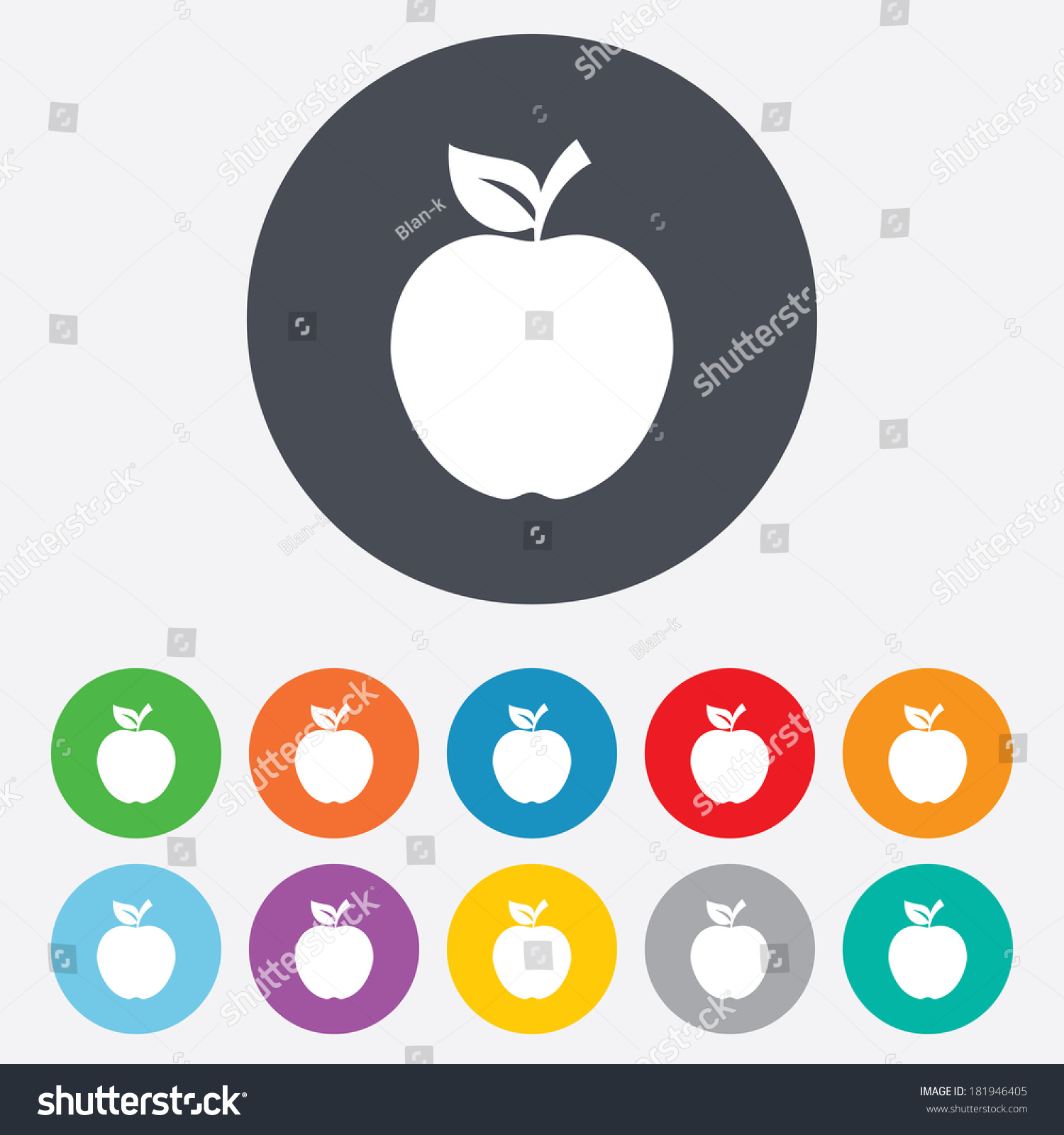 apple sign icon. fruit with leaf symbol. round squares buttons with