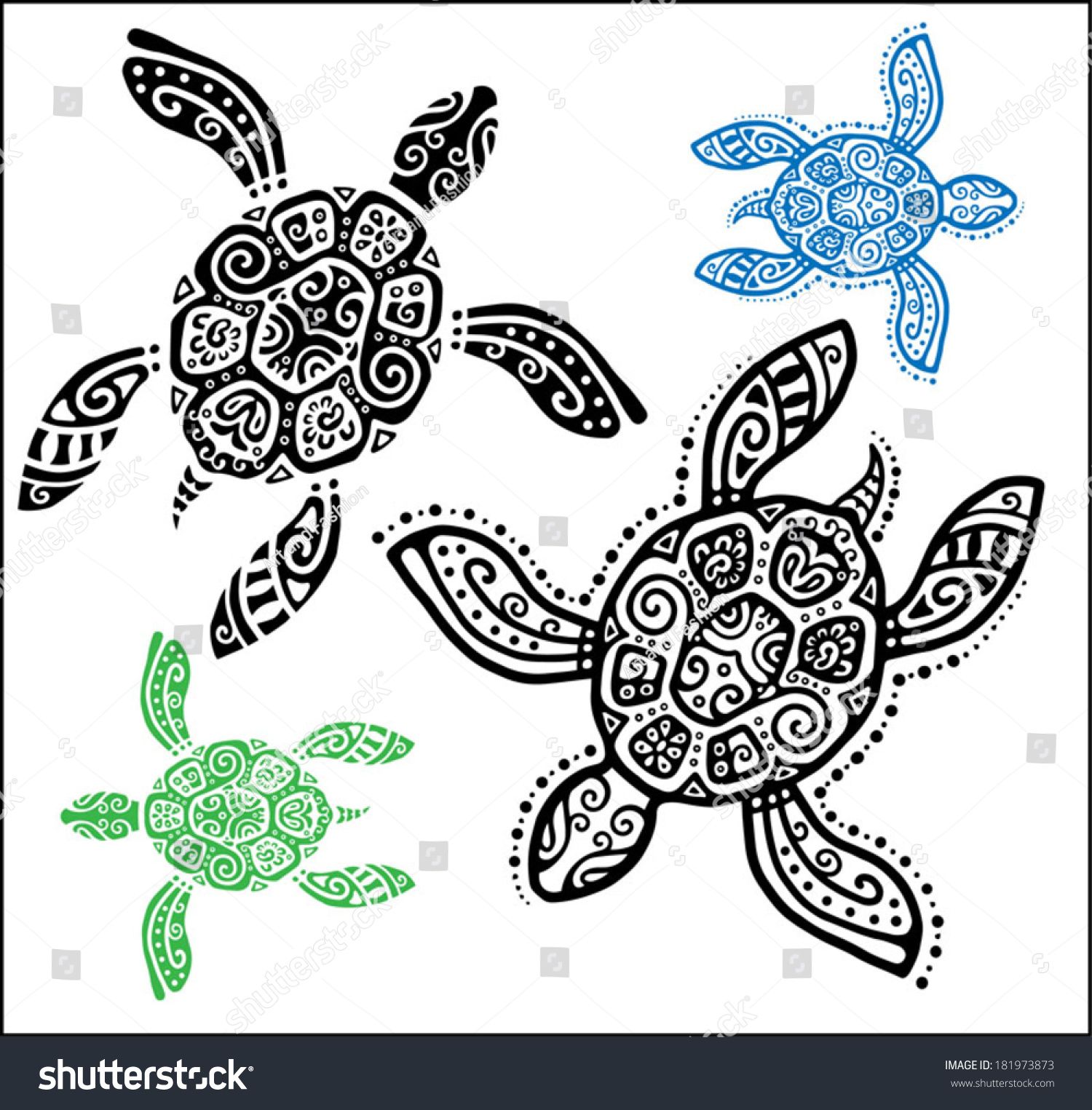 Turtle Line Drawing Tattoo : Decorative graphic turtle tattoo style totem stock vector