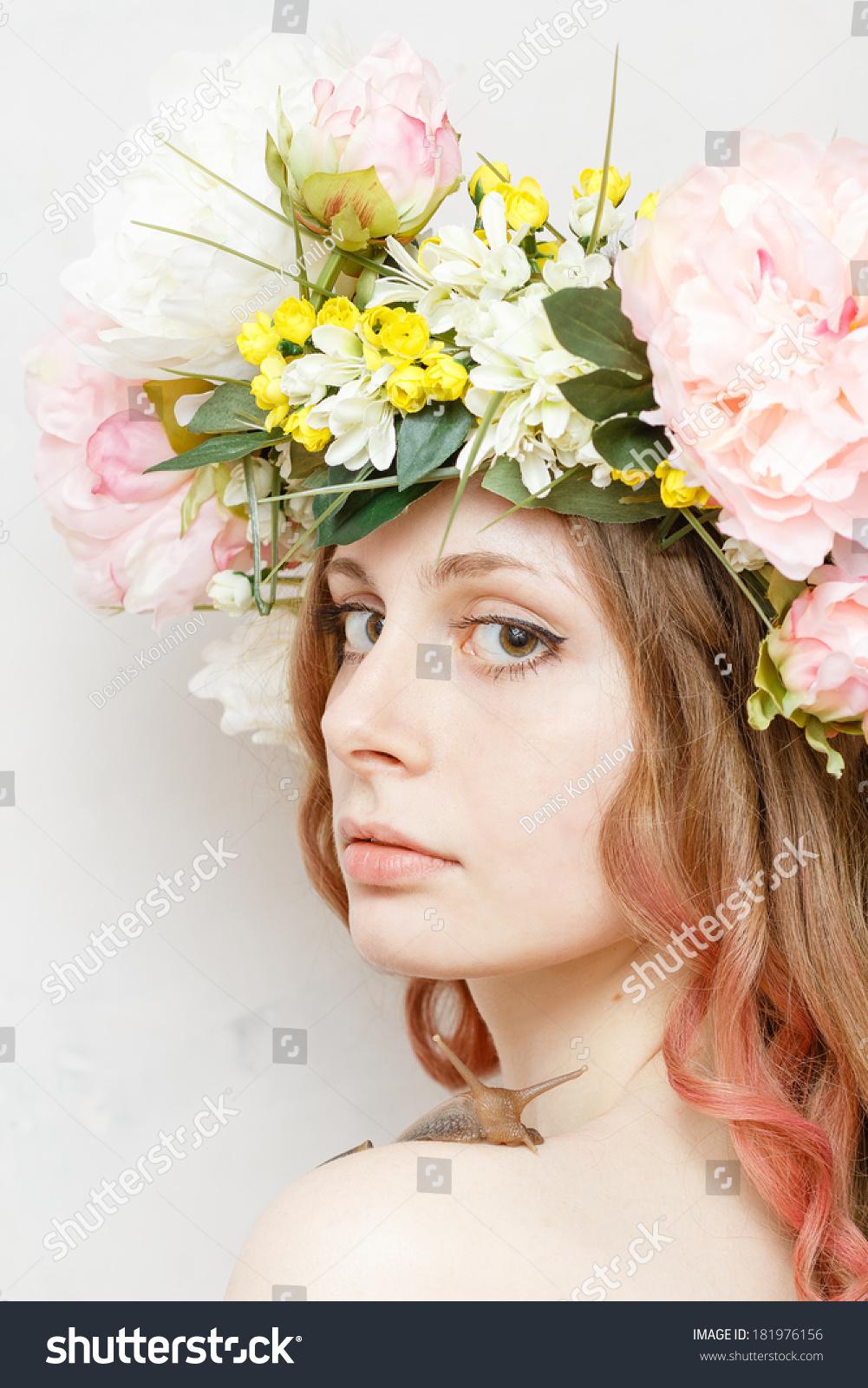 Calm Pretty Girl Snail Flower Crown Stock Photo Royalty Free