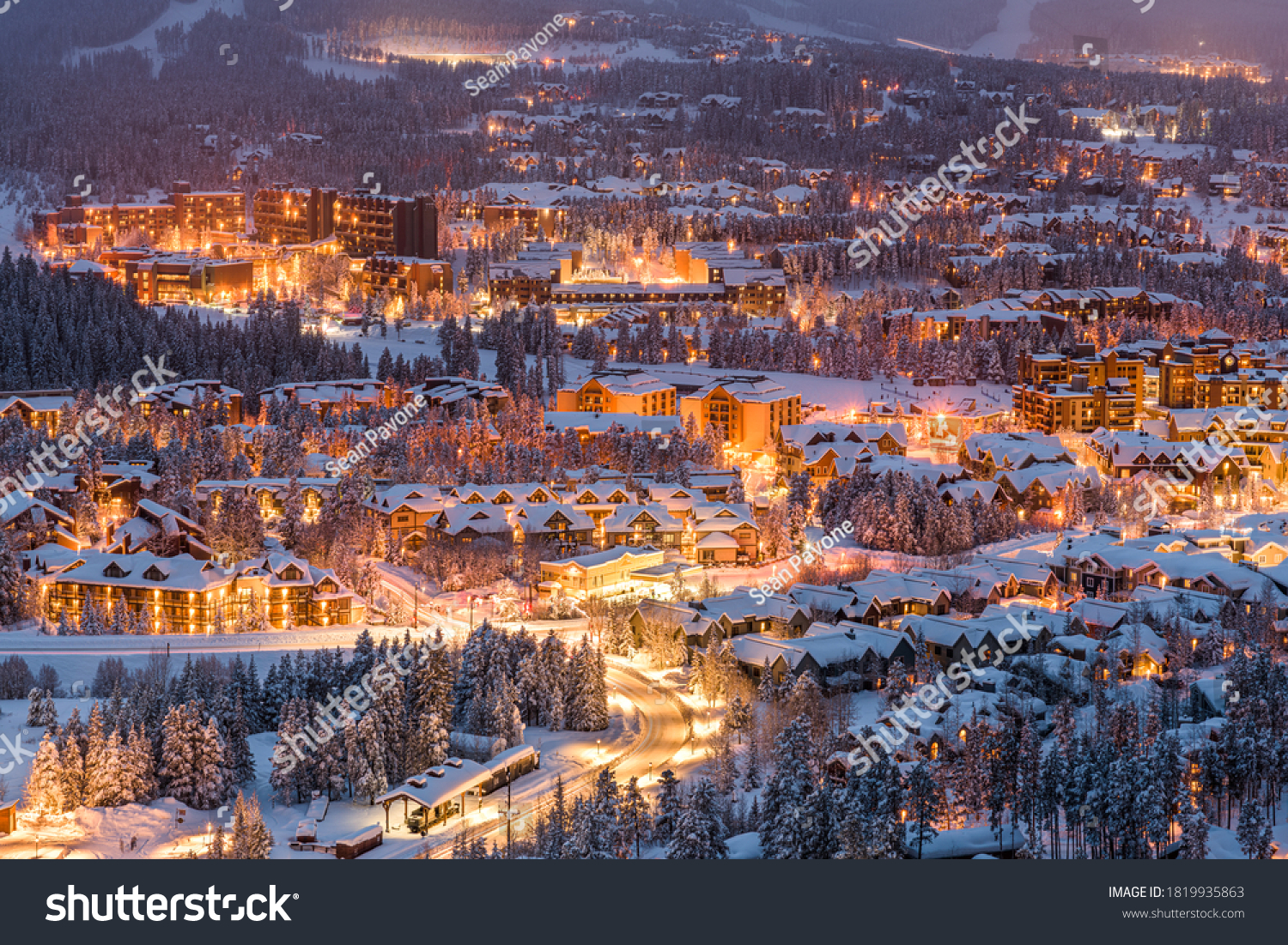 Breckenridge, Colorado, USA town skyline in winter at dusk. #1819935863