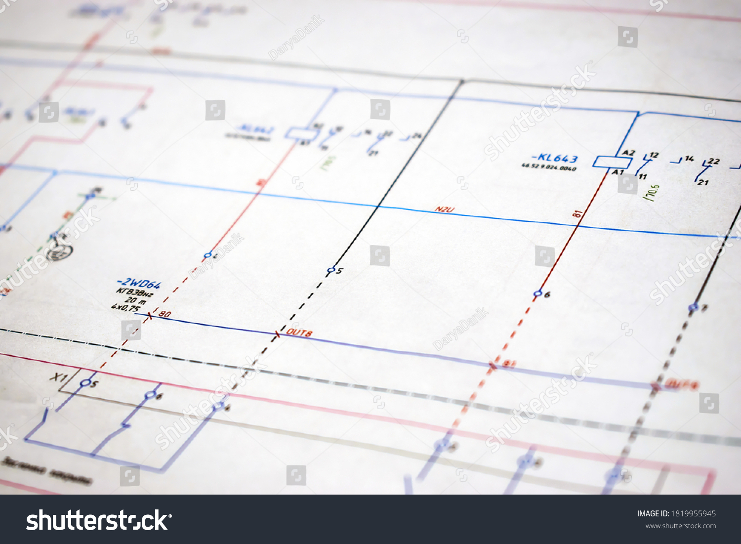 Printed electrical diagram. Design concept, electronics and engineering. Wiring diagram, close-up. #1819955945