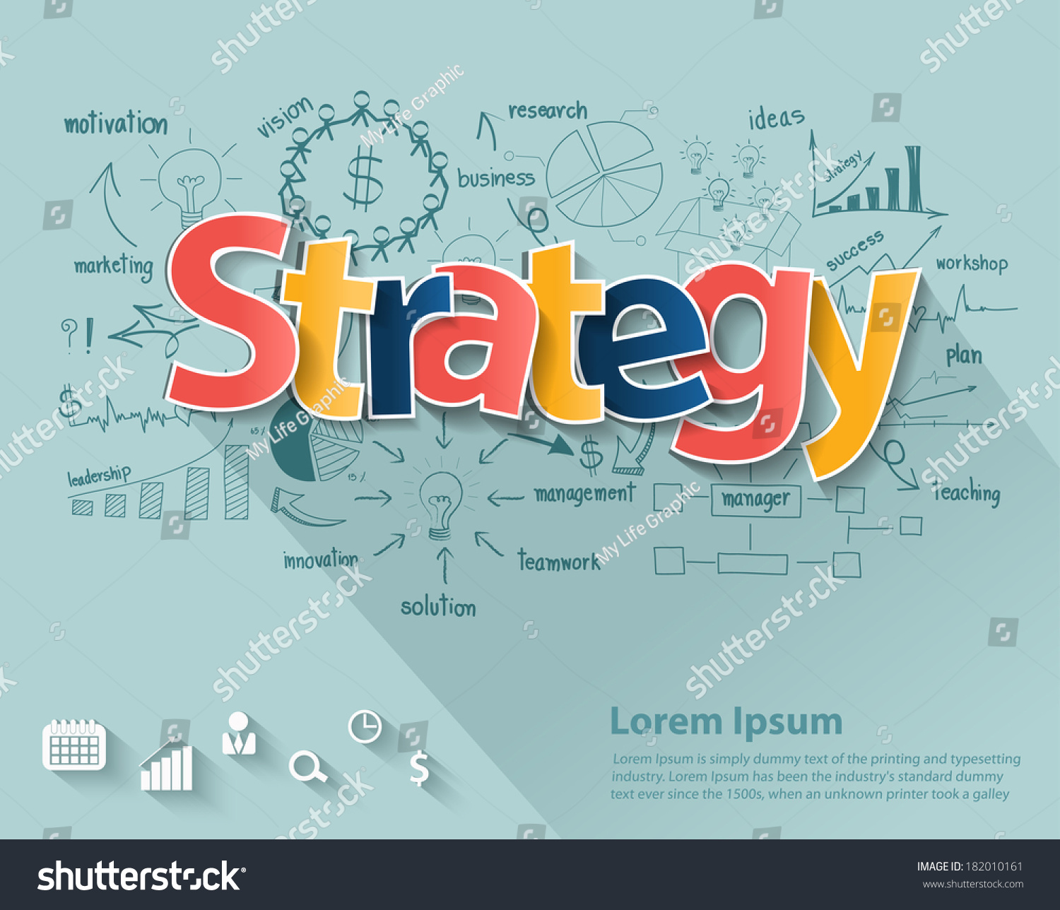 Business Strategy Concept Creative Drawing Charts Stock Vector ...