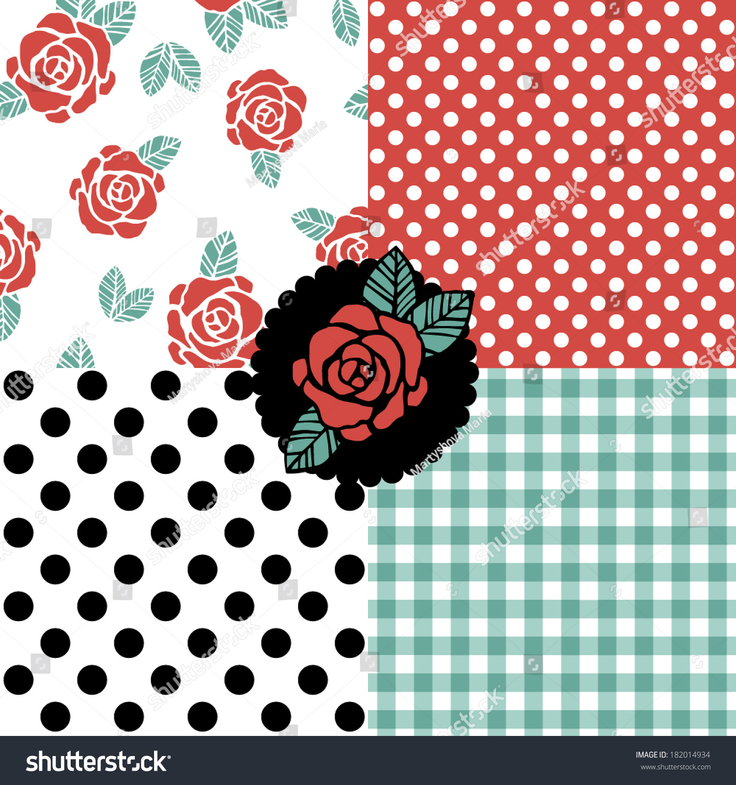 Rockabilly Wallpaper: Set Of Seamless Vector Patterns With Roses, Polka Dots