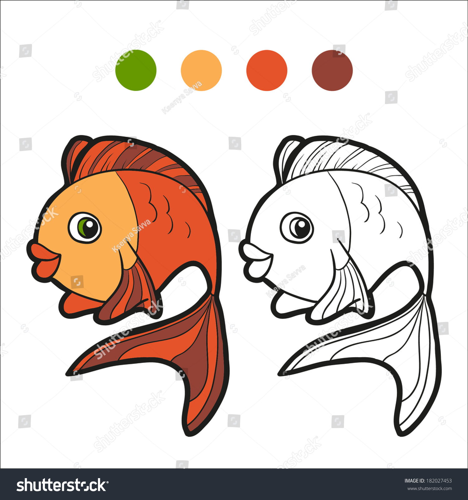Coloring Book Fish Stock Vector 182027453 - Shutterstock