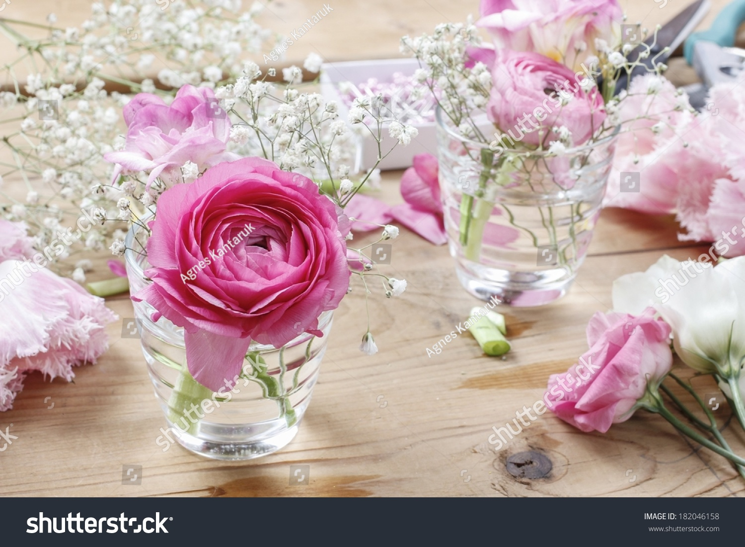 Florist workplace incomplete tiny bouquets in glass vases steps of id 182046158 izmirmasajfo