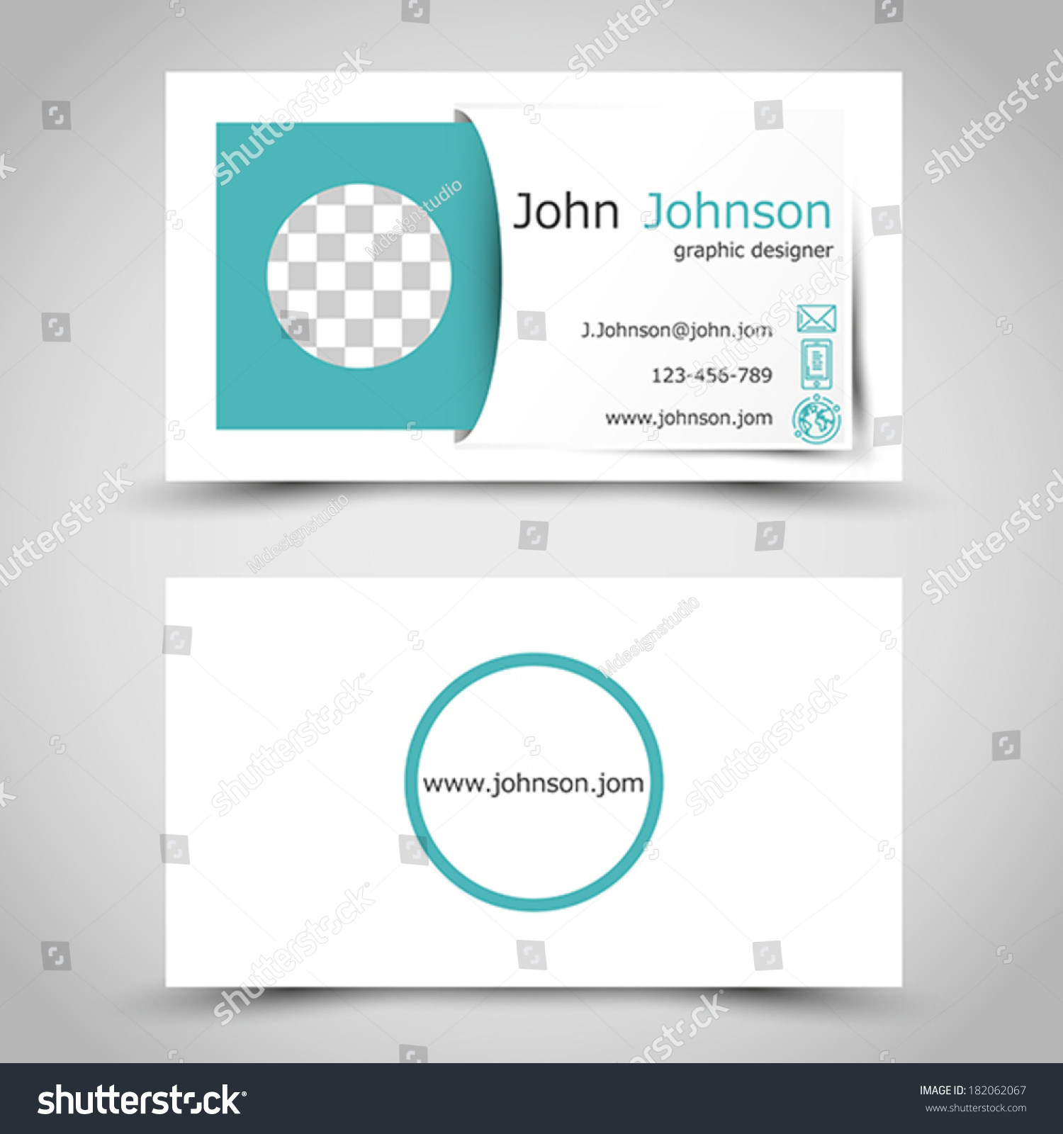Modern Turquoise Business Card Sticker Photo Stock Vector ...