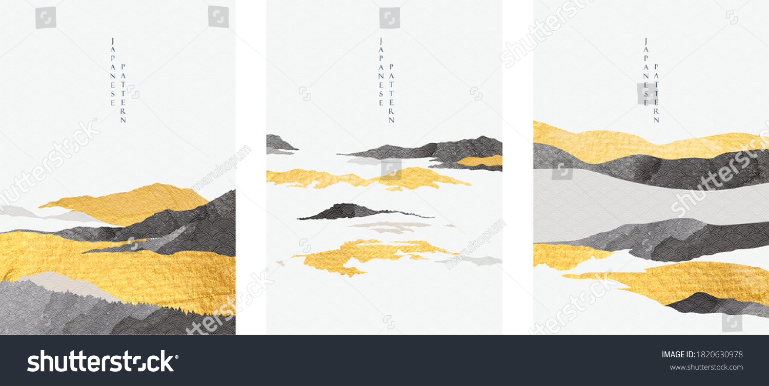 Abstract landscape with Japanese wave pattern vector. Nature art background with Mountain forest template in oriental style. #1820630978