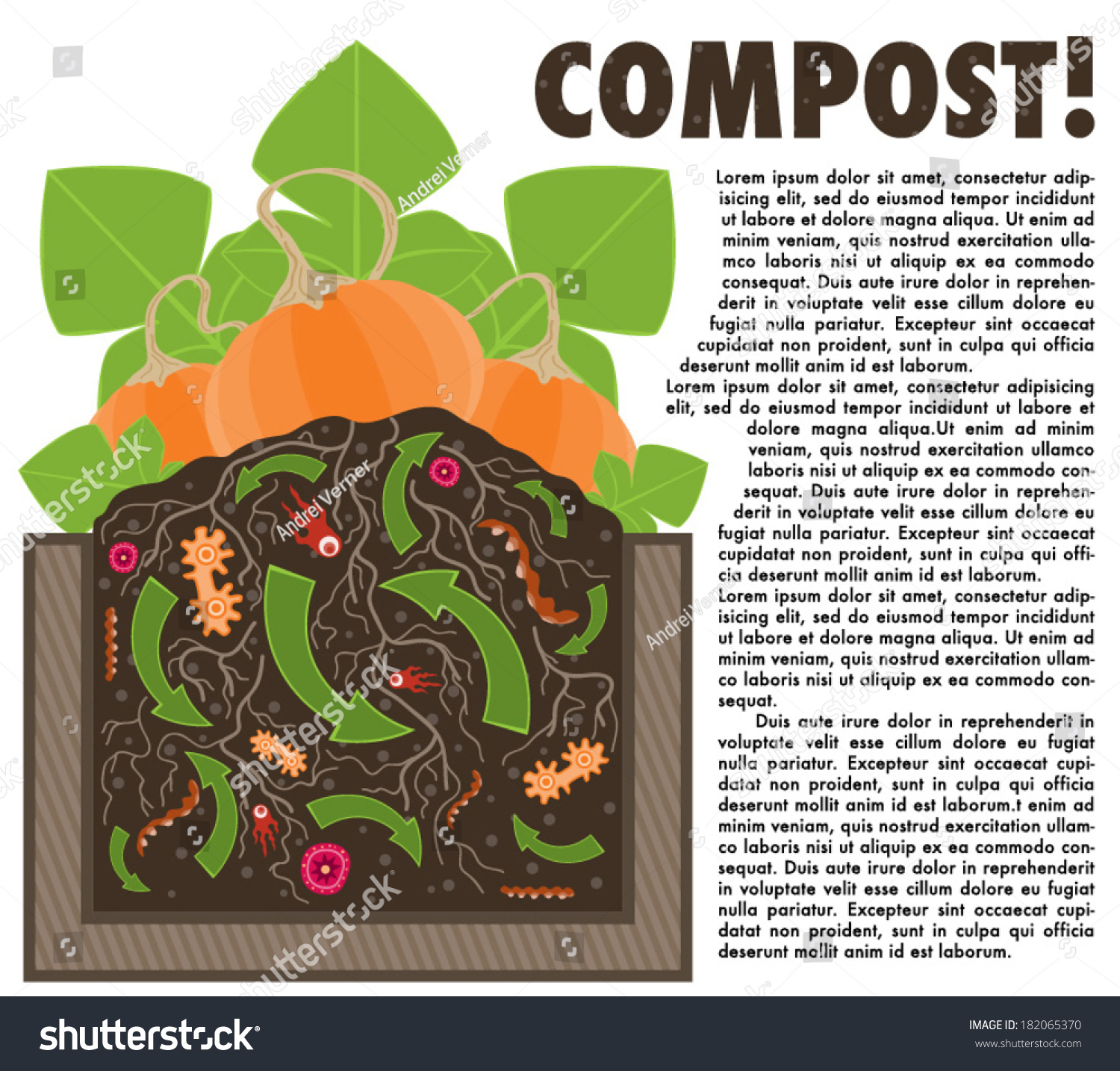 Compost Organic Waste Recycling Soil Vector Stock Vector