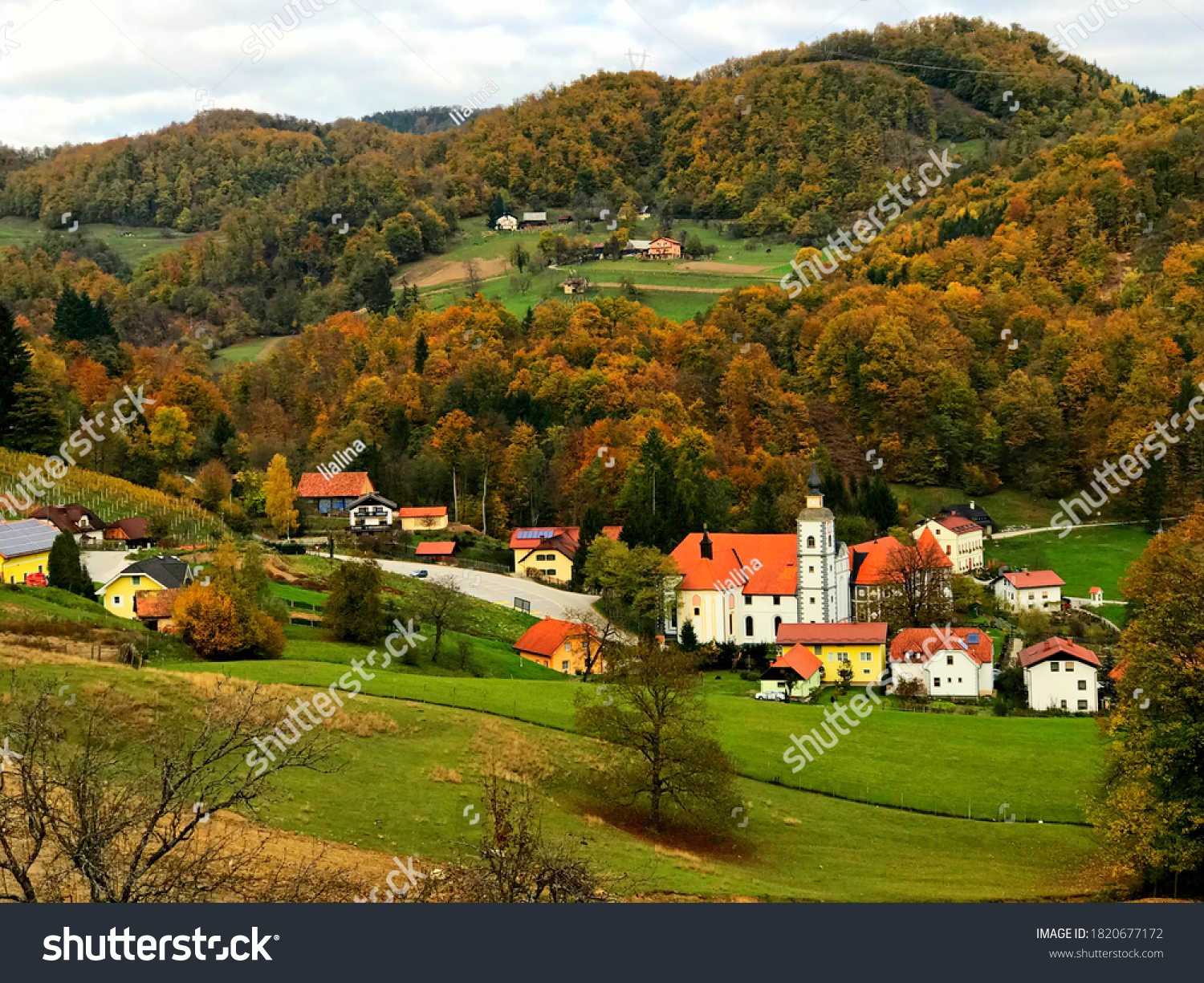 Beautiful idyllic rural landscape, Slovenia. Picturesque idyllic village of Olimje. Scenic slovenian countryside. Green hills. Autumn forest. Stunning nature. Wonderful peaceful land. Natural beauty.