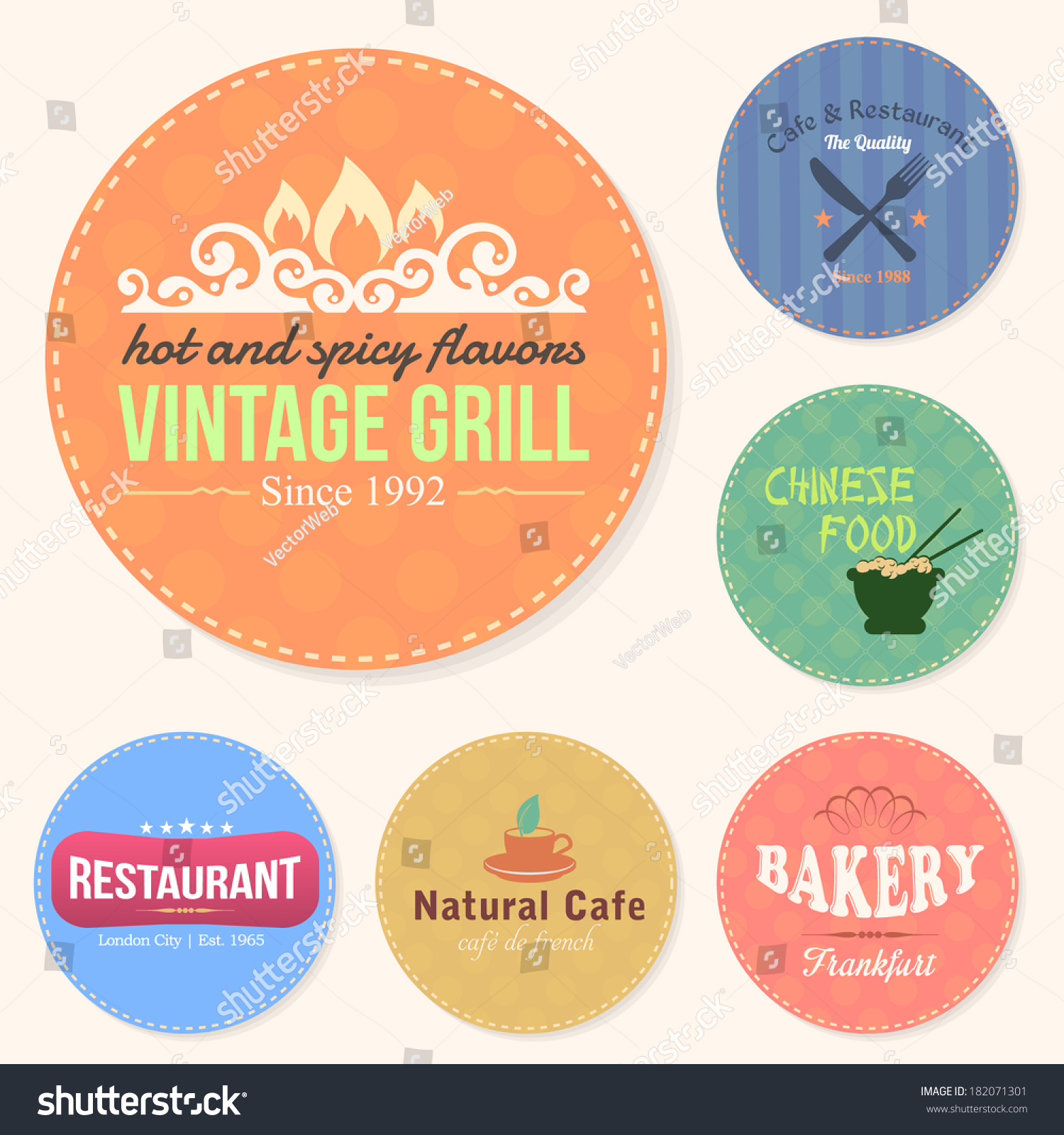Food and drink restaurant bar tag sticker banners