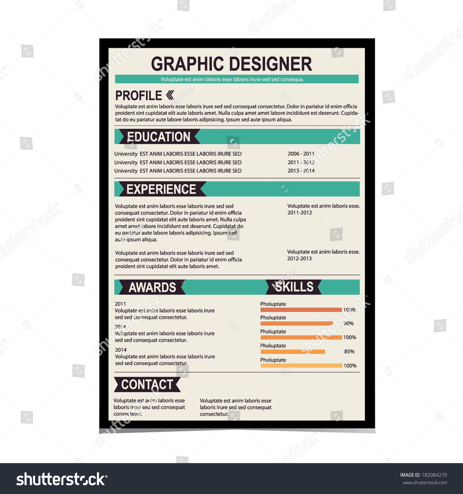 resume template cv creative background vector stock vector 182084279