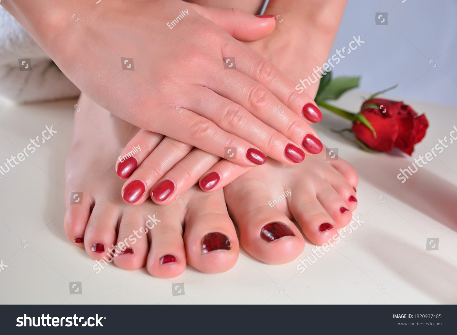 Woman feet and hands with dark red nails polish color on a white desk in a beauty salon. Pedicure and manicure concept
