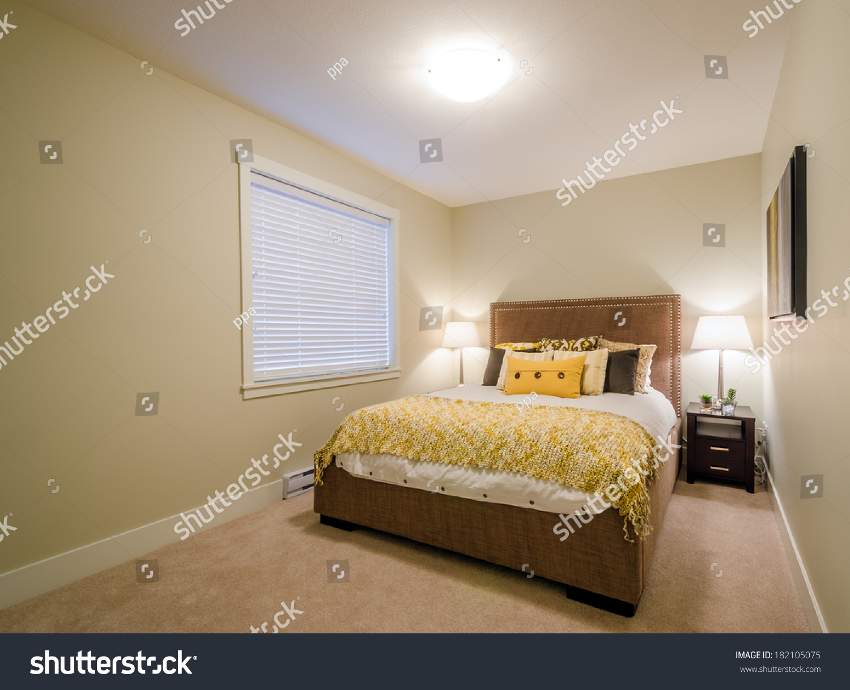 Beautiful Modern Yellow Bedroom Home Hotel Stock Photo