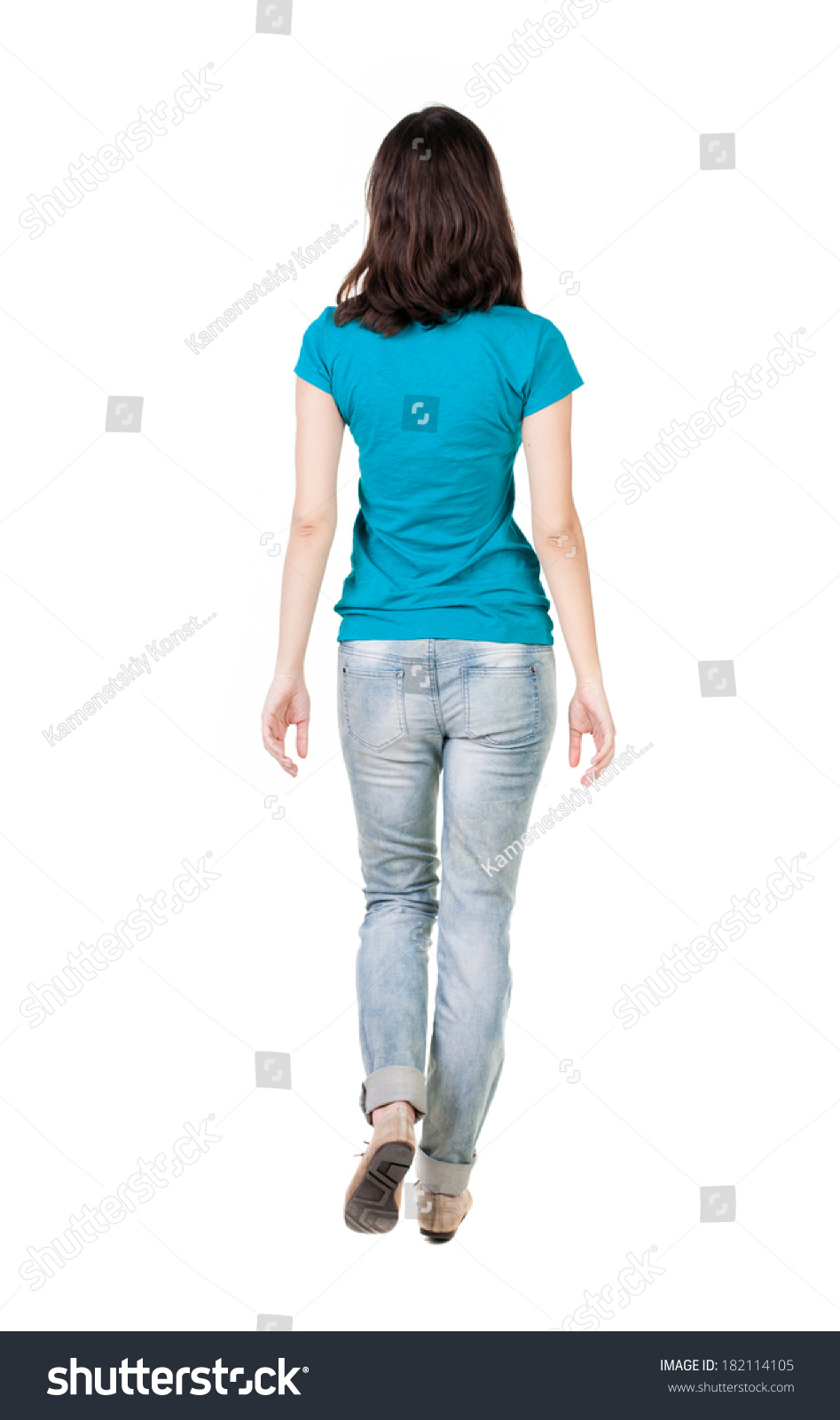 Standing Woman And Strolling Man Iphone >> Back View Walking Woman Jeans Beautiful Stock Photo Edit Now