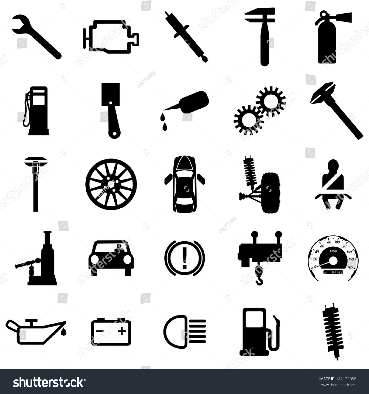 Collection flat icons car symbols illustration stock illustration car symbols illustration biocorpaavc Gallery