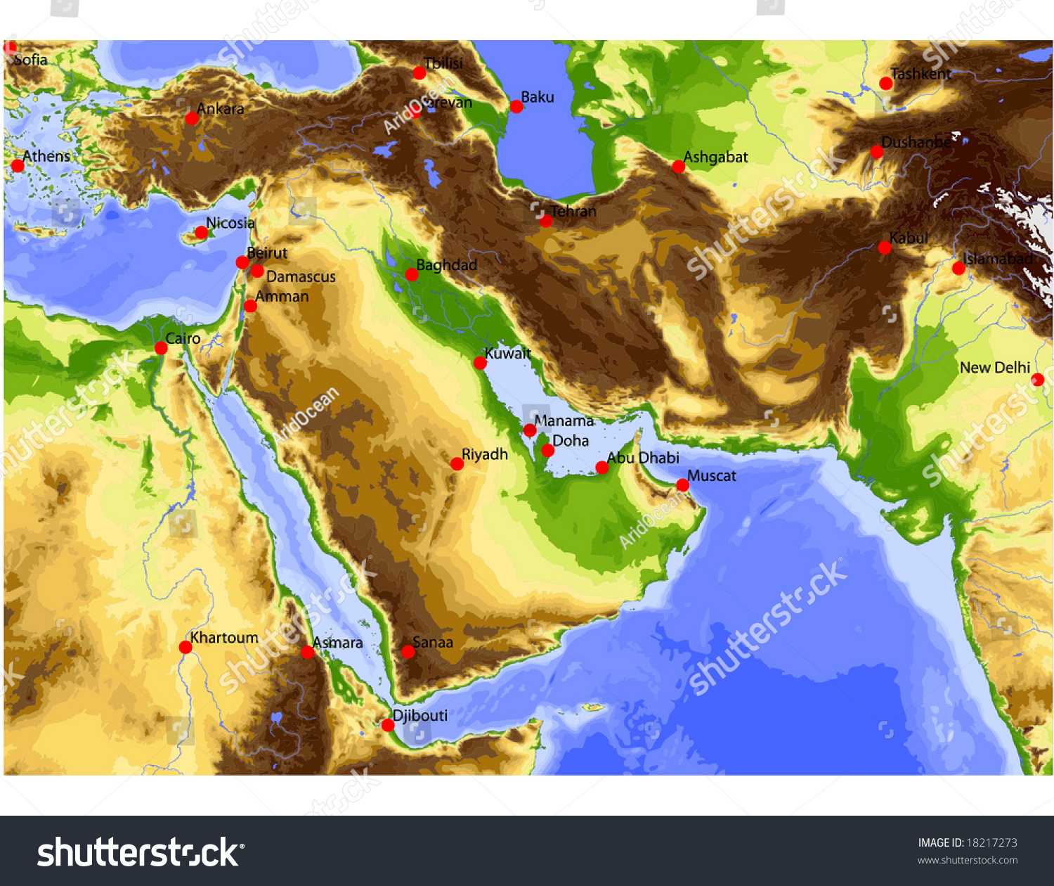Near East Egypt Pakistan Physical Vector Stock Vector - Map of egypt elevation