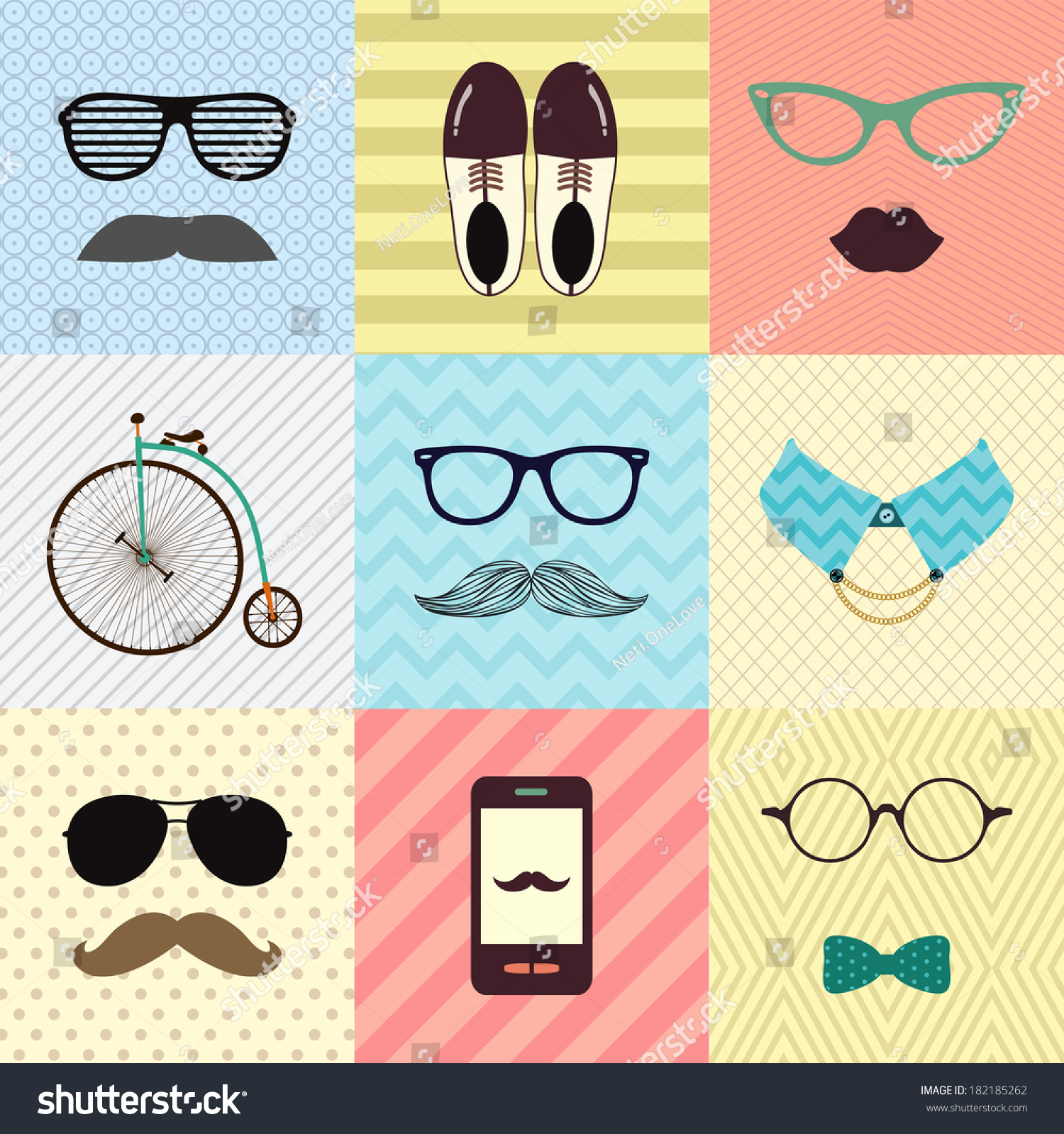 Colorful Retro Vintage Cute Fashion Background With Hipster Icons Vector Illustration