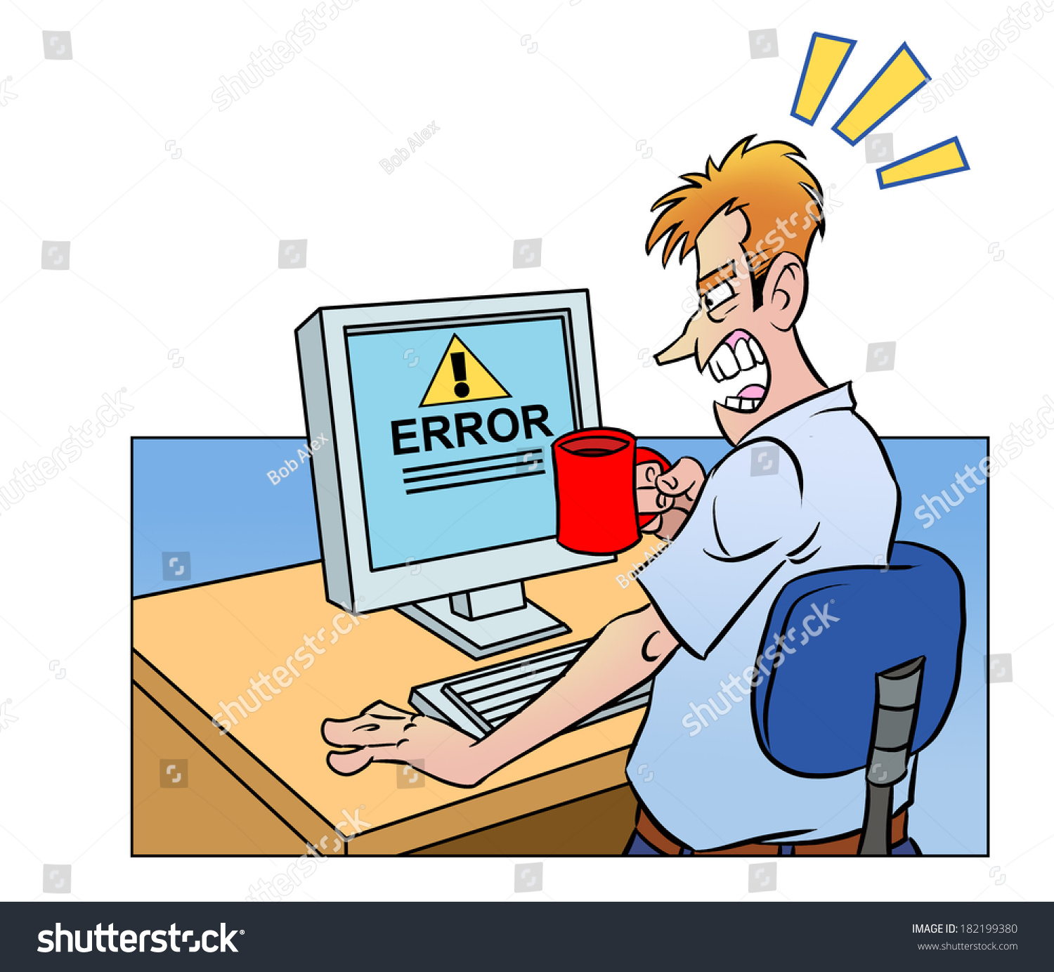 Anger Man Cup Looking Screen Broken Stock Illustration 182199380 ...