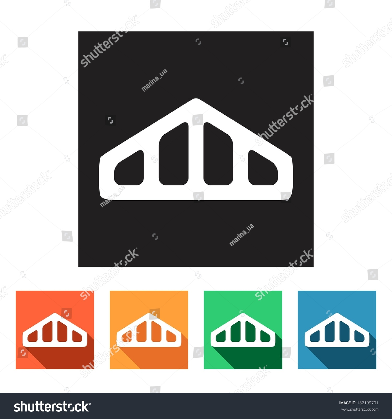house remodel set flat colored simple stock vector 182199701