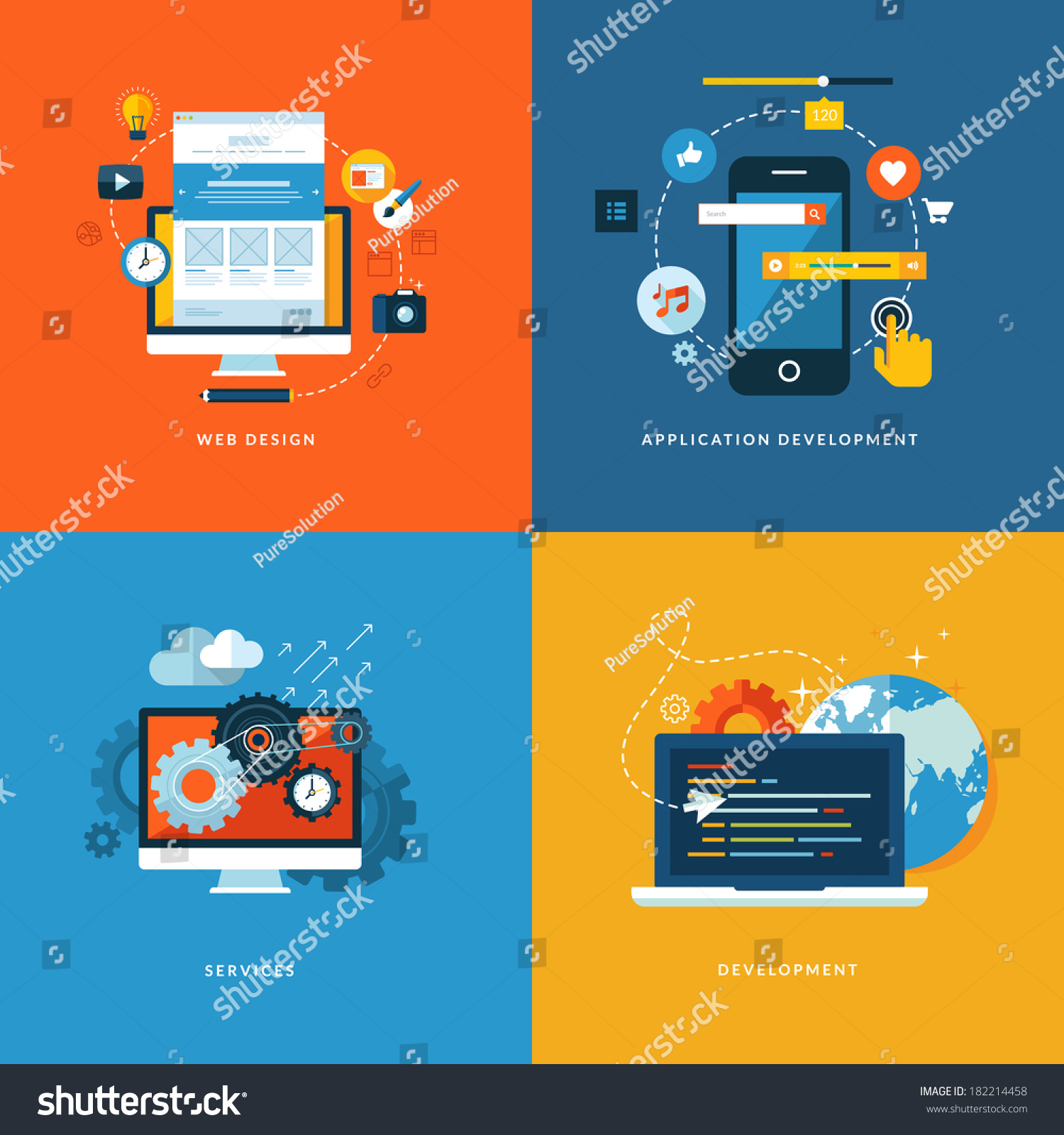 Set flat design concept icons web stock vector 182214458 for Room design web app