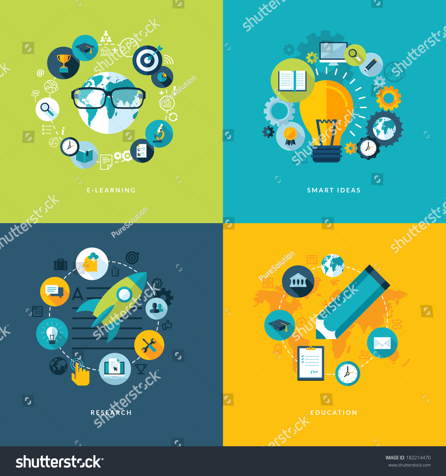 Set Flat Design Concept Icons Education Stock Vector