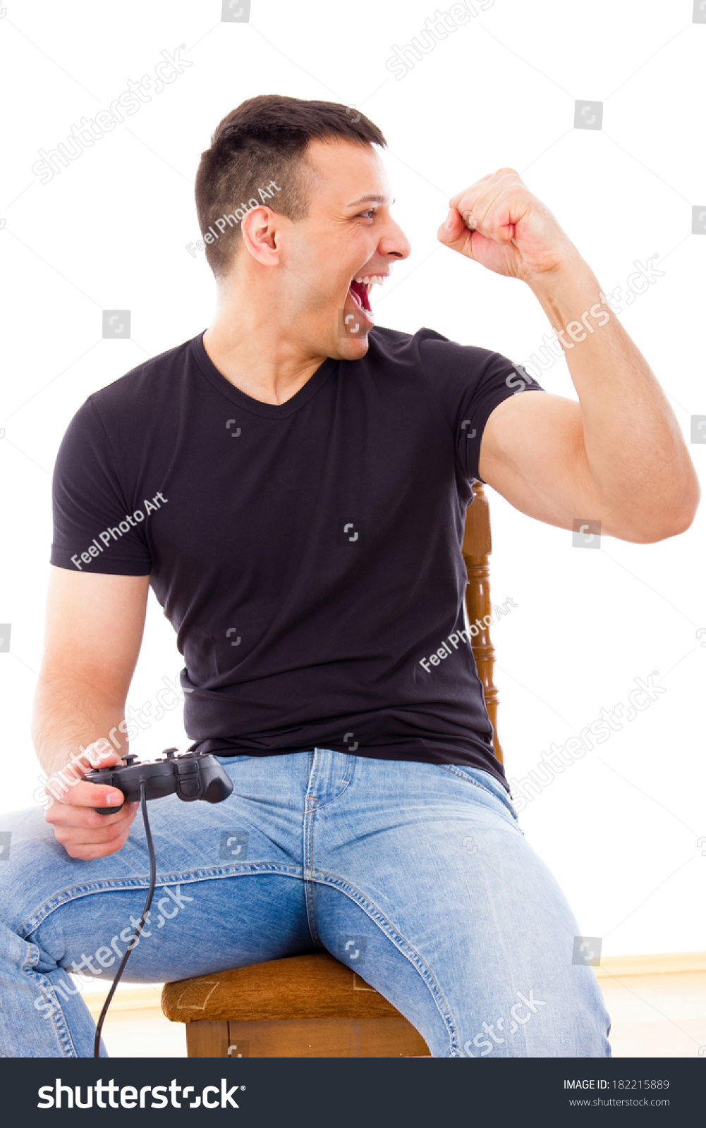 Sexy Man Jeans Winning Video Game Stock Photo 182215889 - Shutterstock