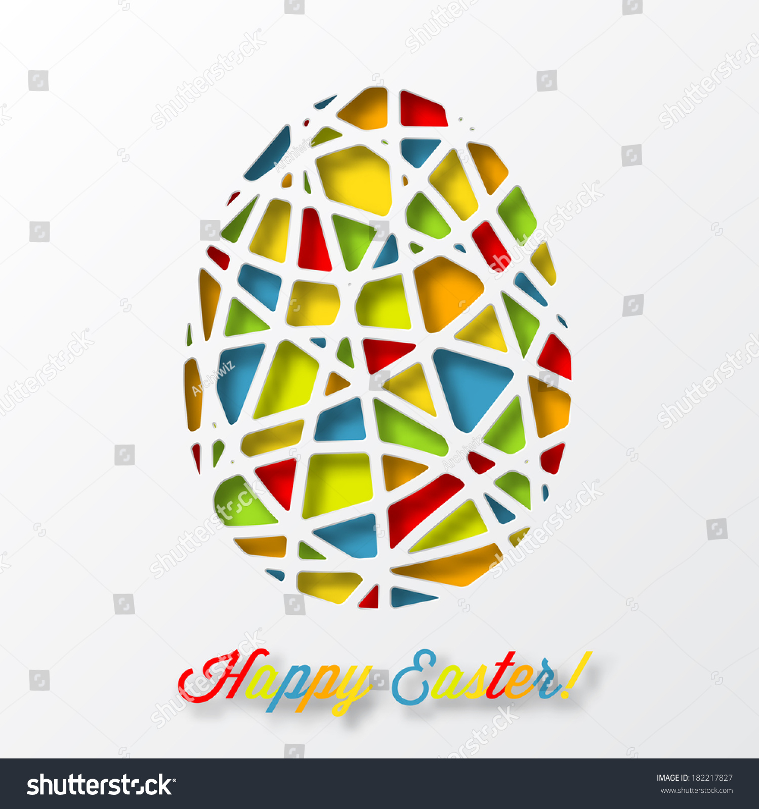 Happy Easter Card Colorful Decorated Egg Vector 182217827 – Happy Easter Card