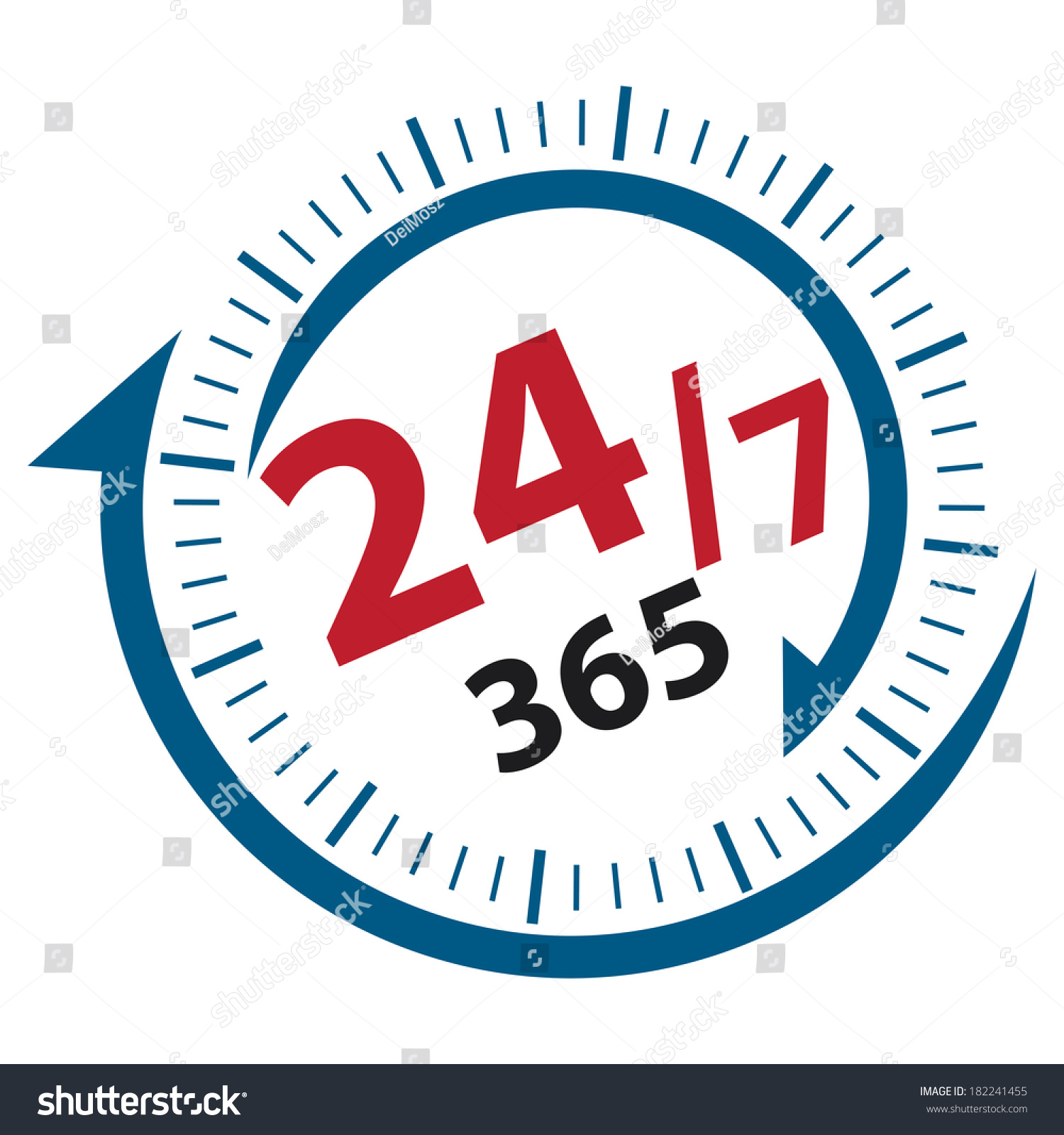 Blue Red 247 365 Days Icon Stock Illustration 182241455