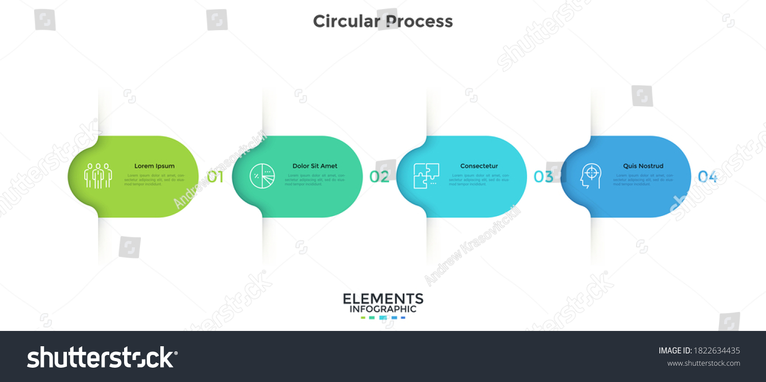Four colorful rounded elements. Concept of 4 successive steps of business project development process. Minimal infographic design template. Modern flat vector illustration for data visualization. #1822634435