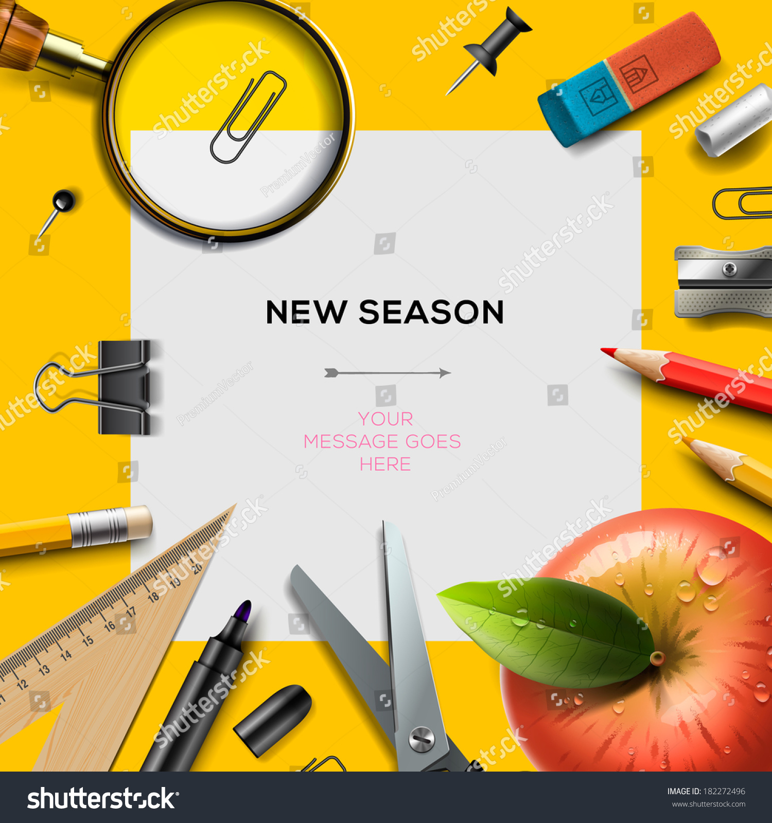 new school season invitation template office stock vector new school season invitation template office supplies back to school background vector illustration