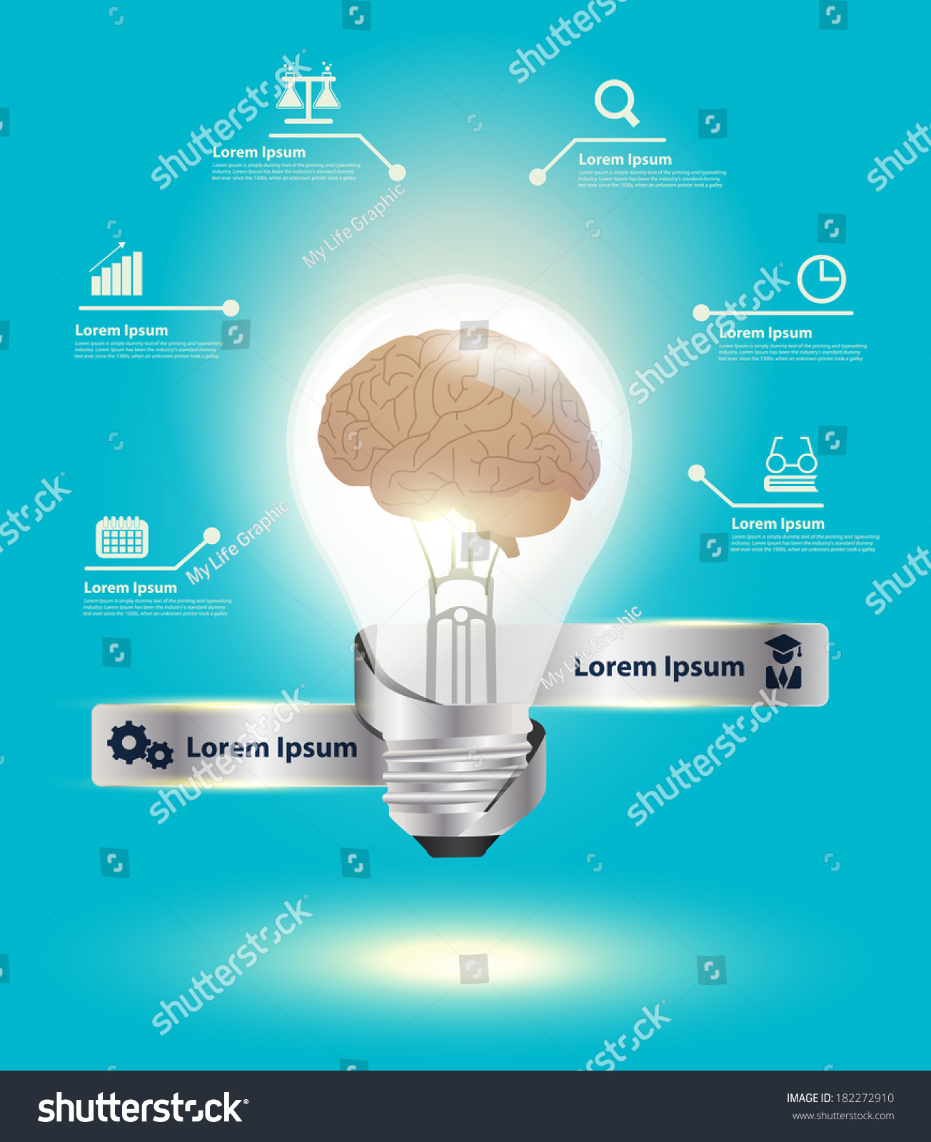 Light Bulb Brain Idea Concept Inspiration Stock Vector Royalty Free Diagram Of Incandescent With Modern Design Template Workflow Layout