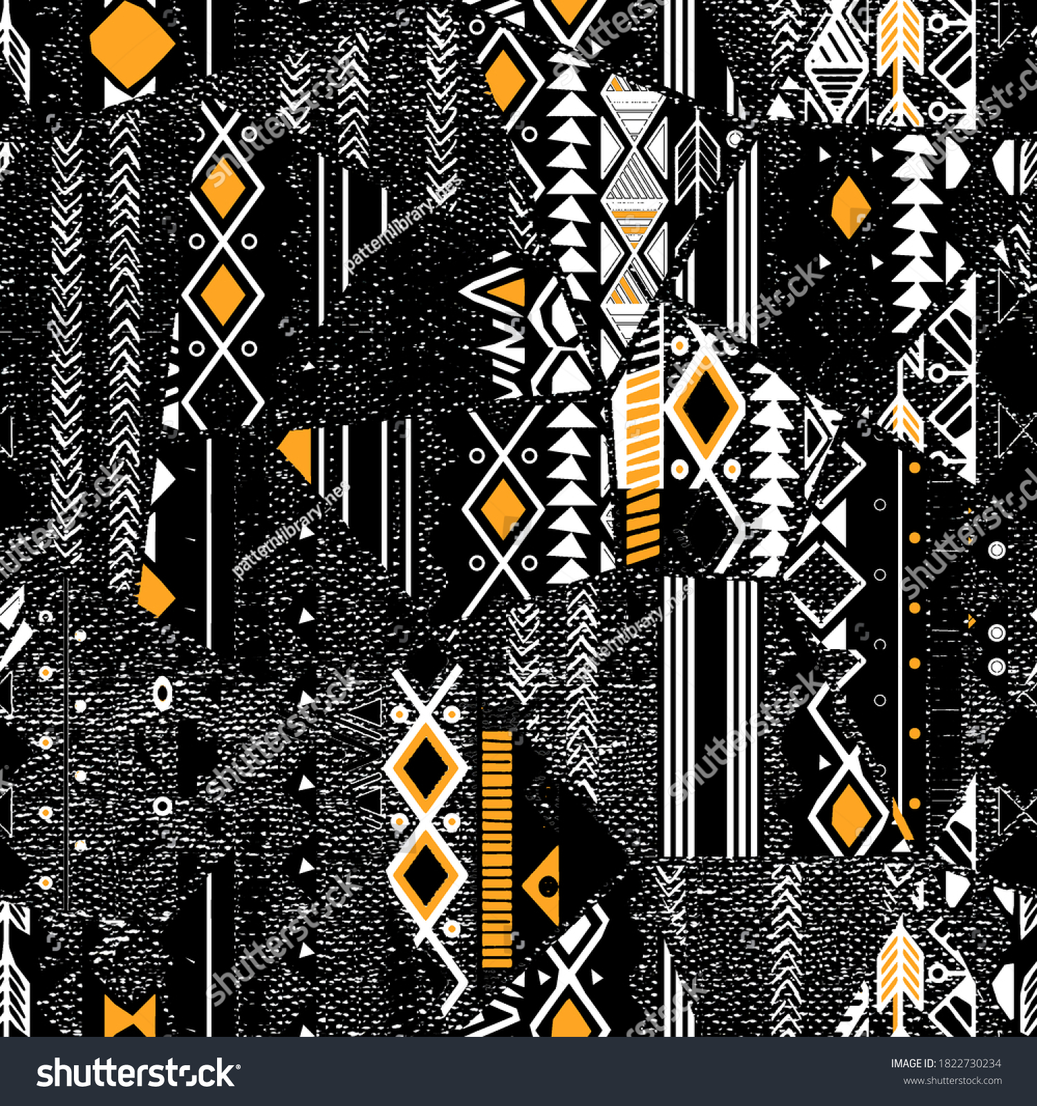 Fashionable and trendy  collage seamless pattern with  tribal pattern. Grunge texture. Bohemian style print wallpaper motif