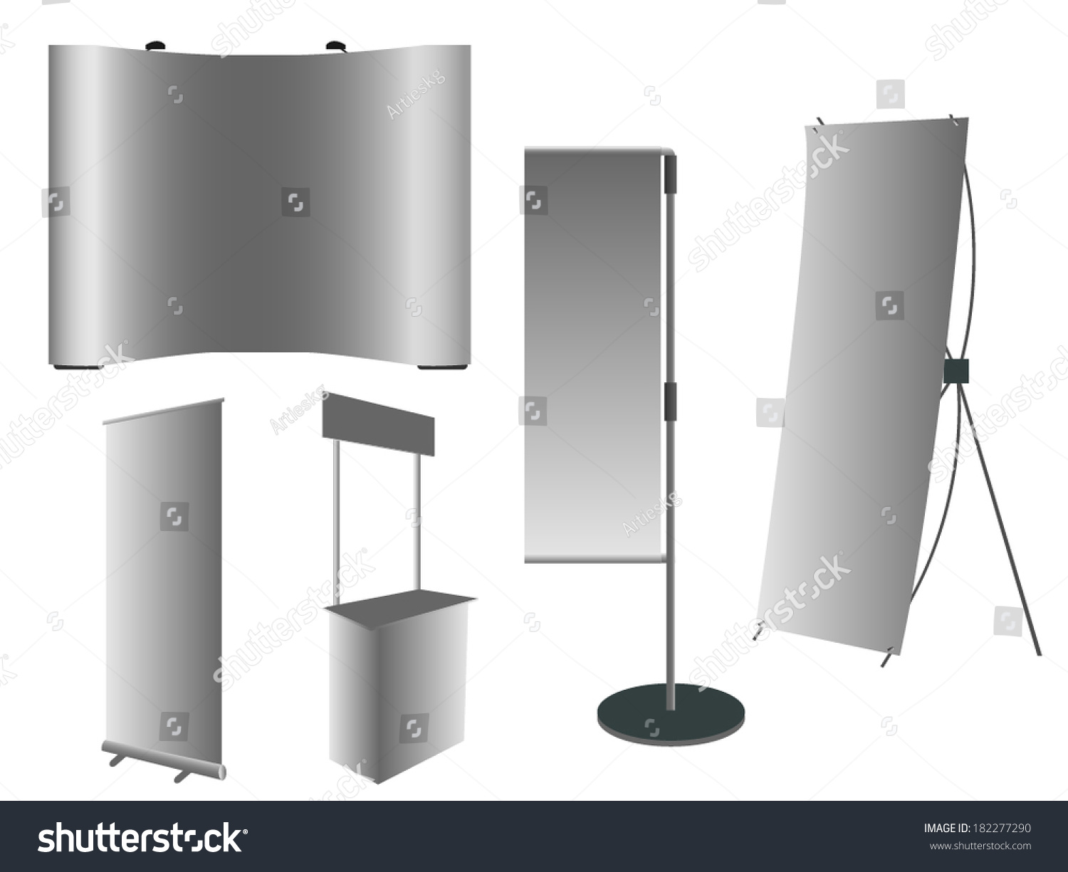 Blank rollup banner jflag poles popup stock vector for Stand roll up