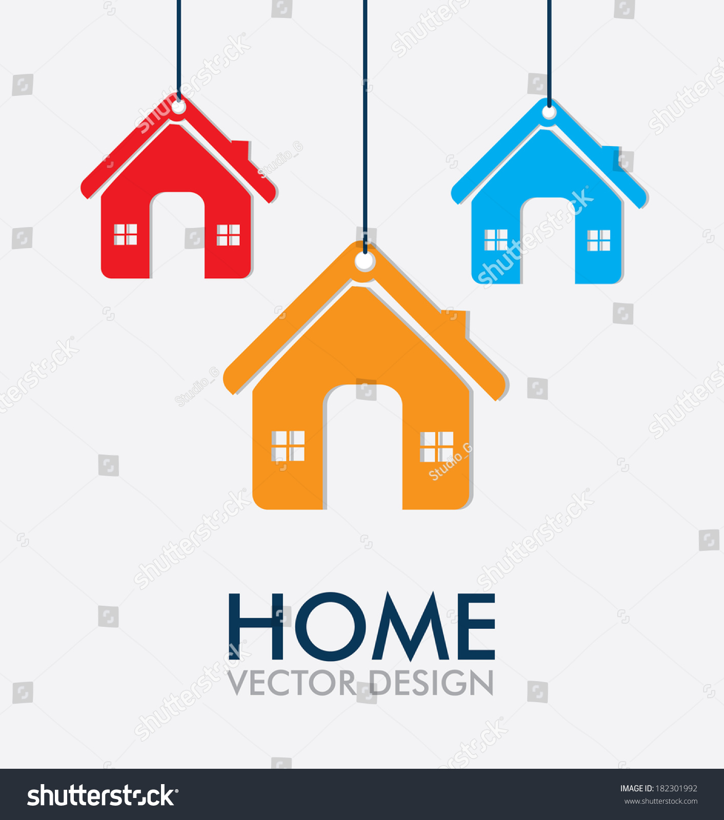 Home Design Over Gray Background Vector Stock Vector 182301992 ...