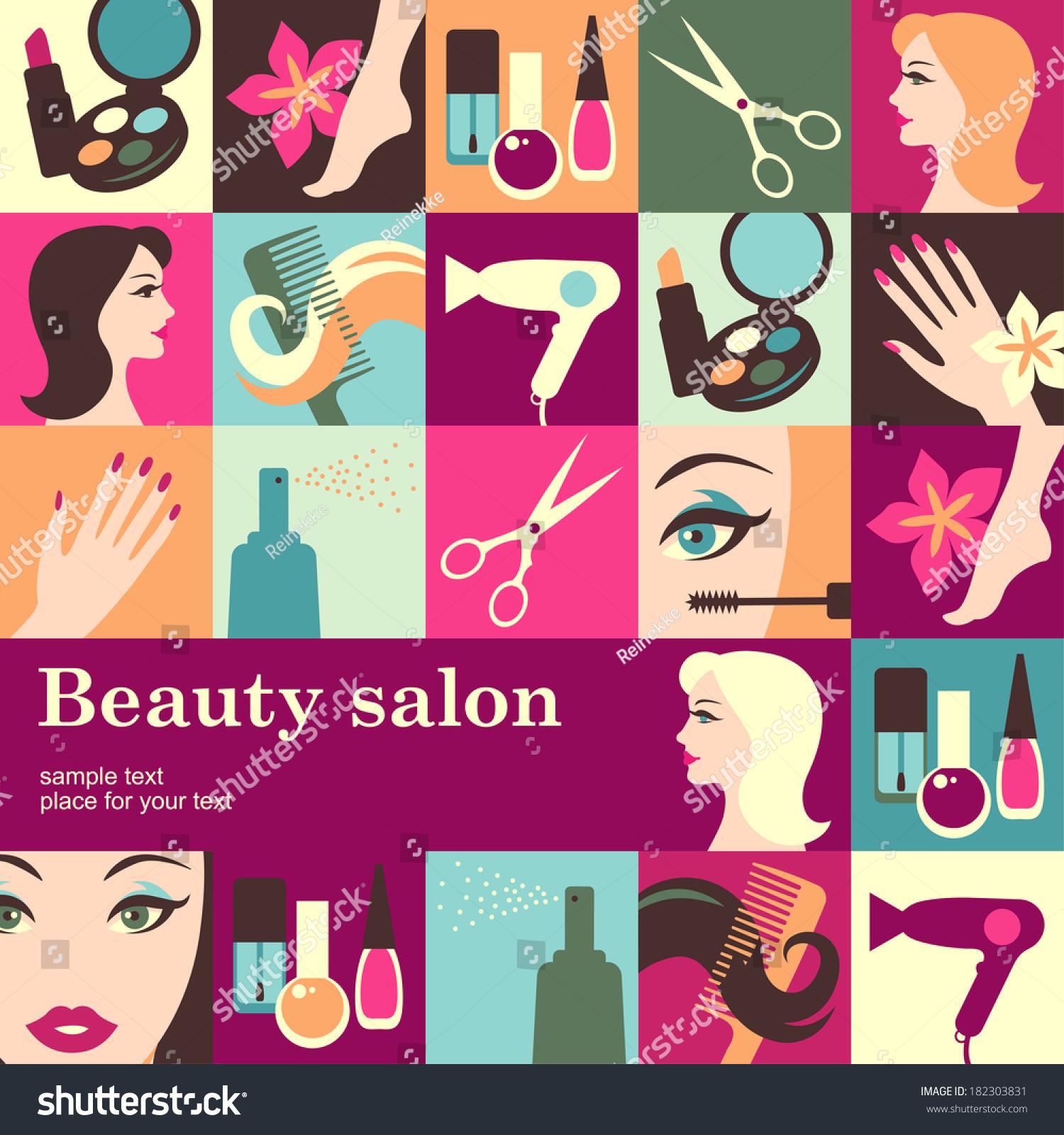 Nails Art Beauty Salon Background Stock Vector: Beauty Salon Design Template Card Vector Stock Vector