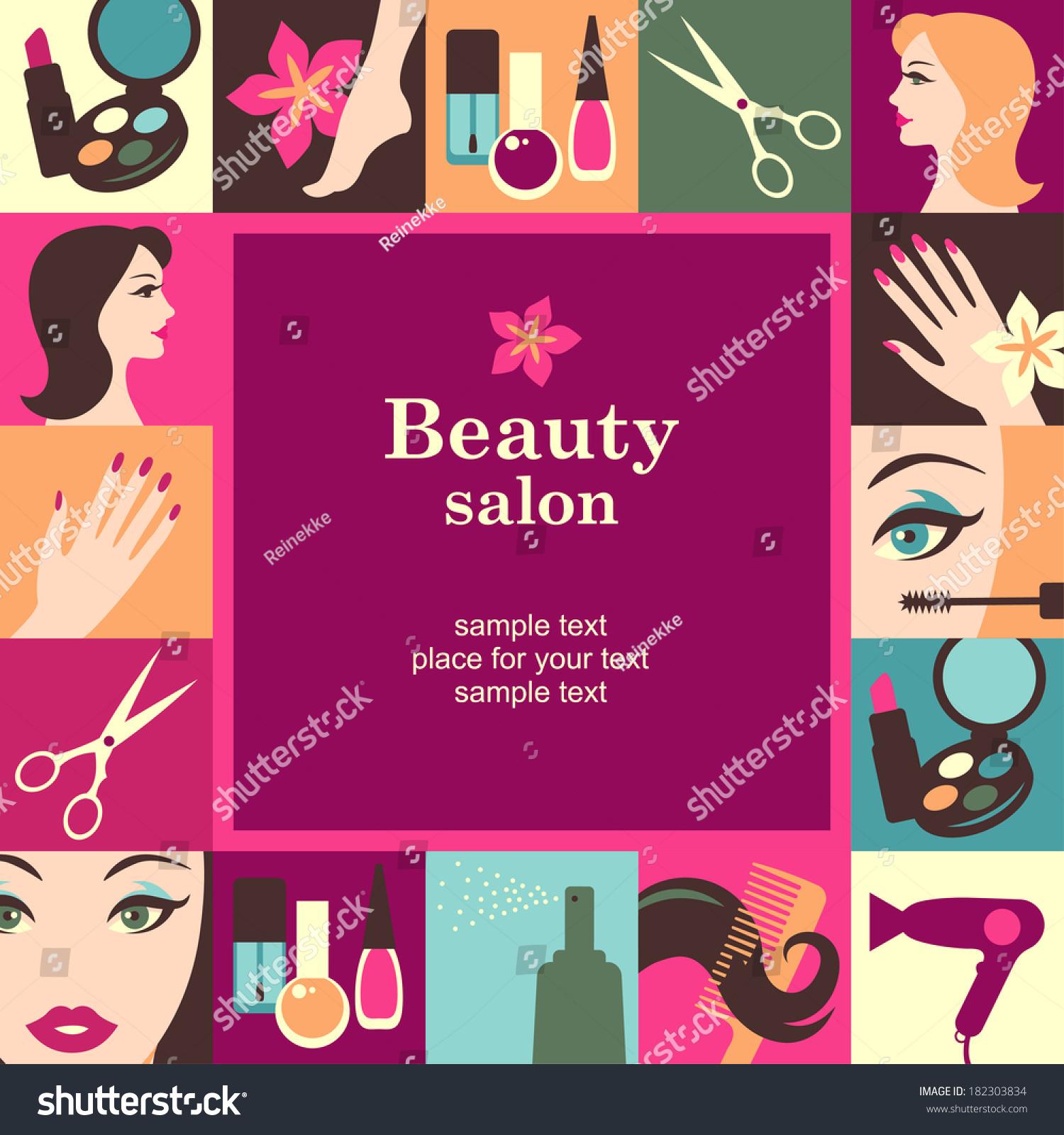 Nails Art Beauty Salon Background Stock Vector: Beauty Salon Frame Template Card Vector Stock Vector
