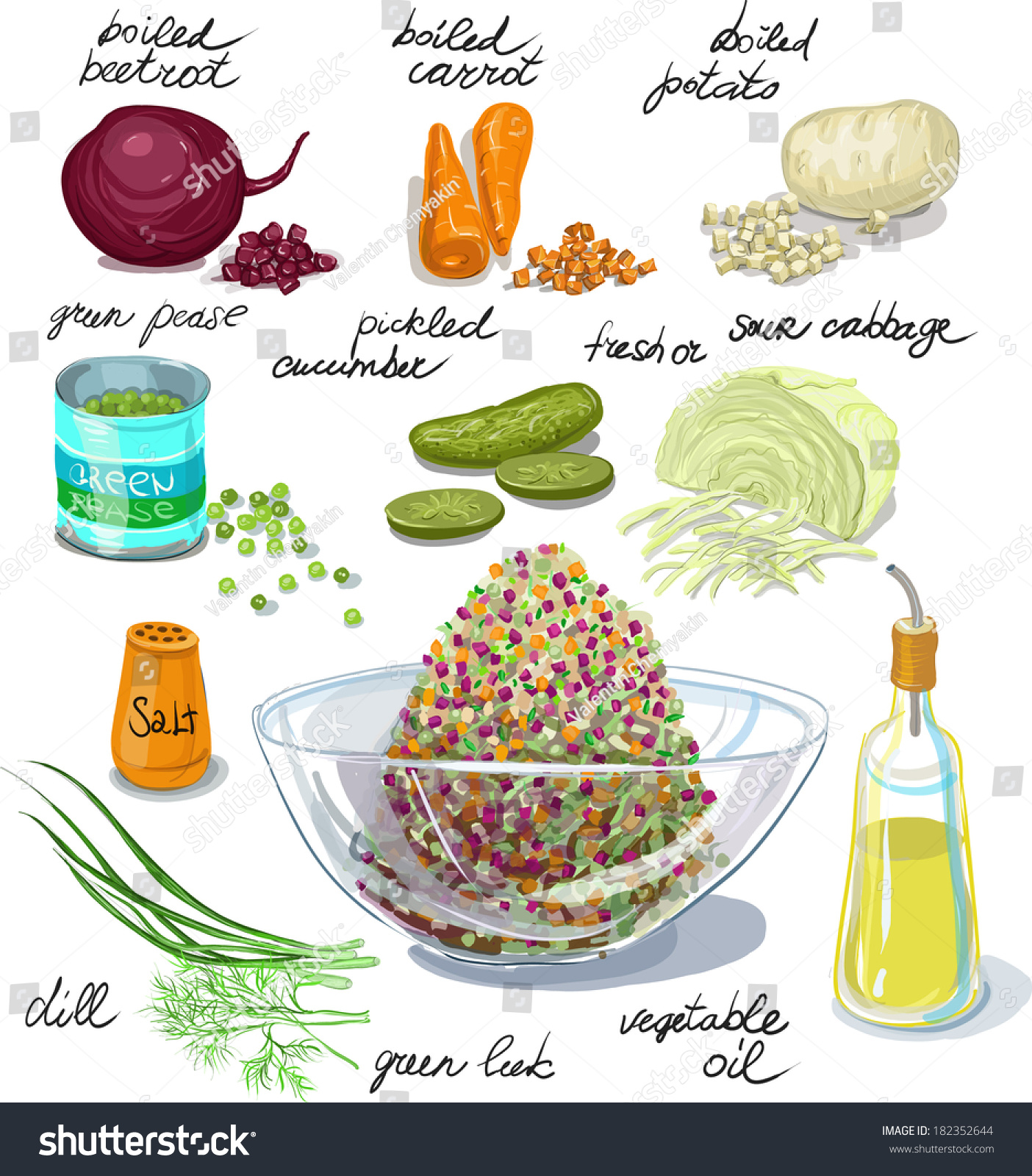 Beetroot Salad Russian Salad Instruction Picture Stock ...