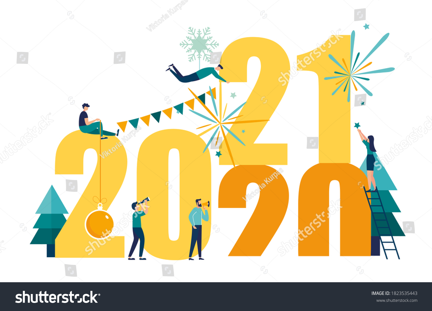 Vector illustrations little people get ready for the New Year, are engaged in decoration, the inscription New Year 2021 replaces 2020 #1823535443
