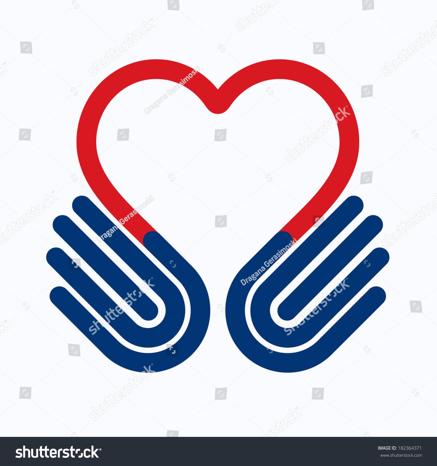 Heart Symbol Hands Help Concept Give Stock Illustration 182364371